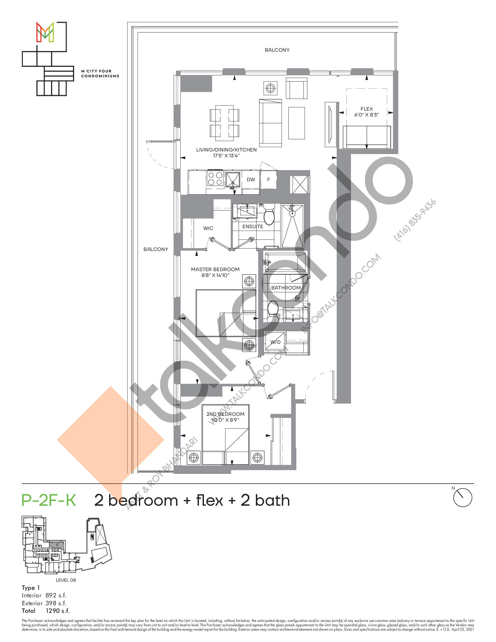 P-2F-K (Podium) Floor Plan at M4 Condos - 892 sq.ft