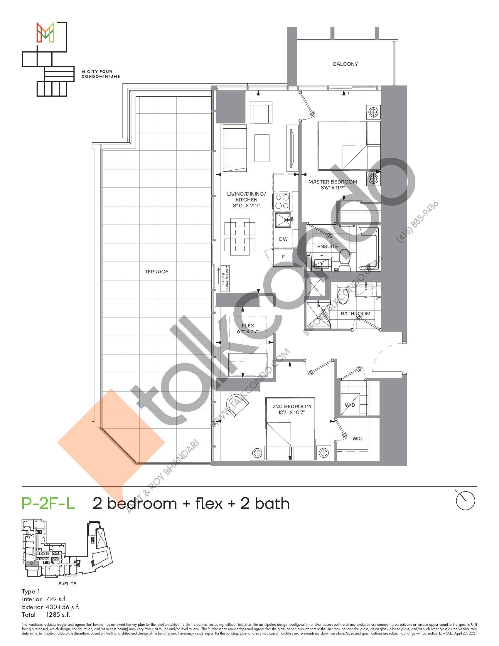 P-2F-L (Podium) Floor Plan at M4 Condos - 799 sq.ft