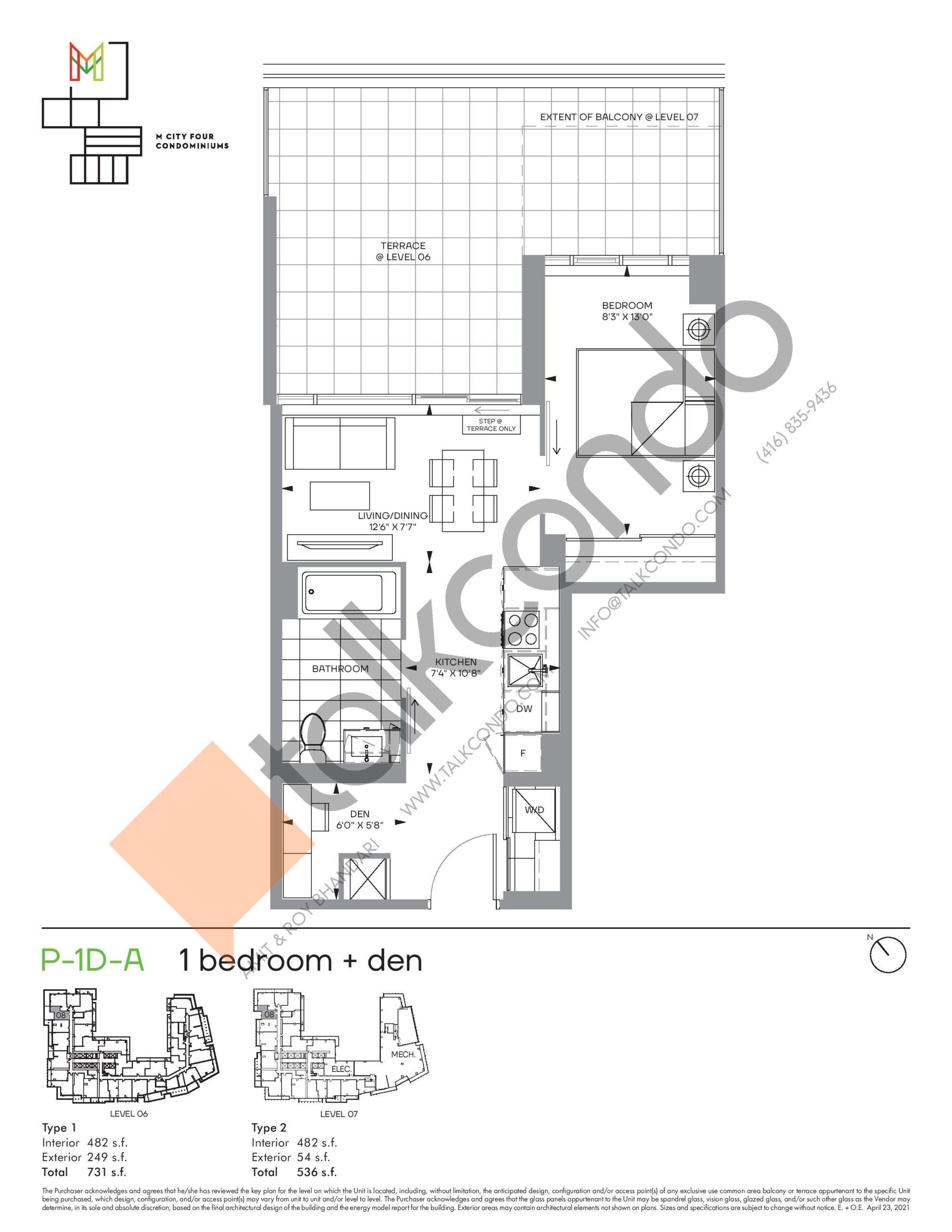 P-1D-A (Podium) Floor Plan at M4 Condos - 482 sq.ft