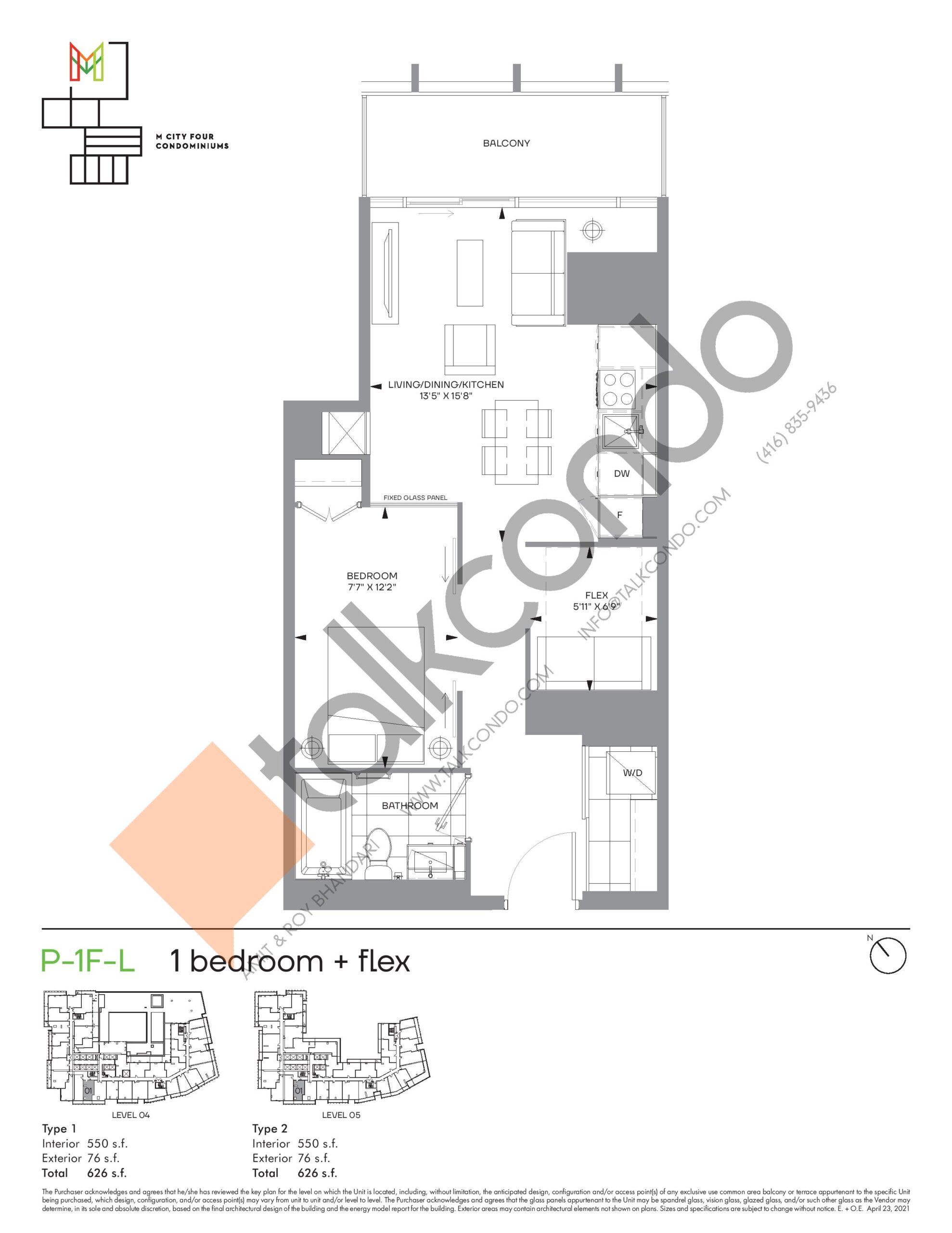 P-1F-L (Podium) Floor Plan at M4 Condos - 550 sq.ft