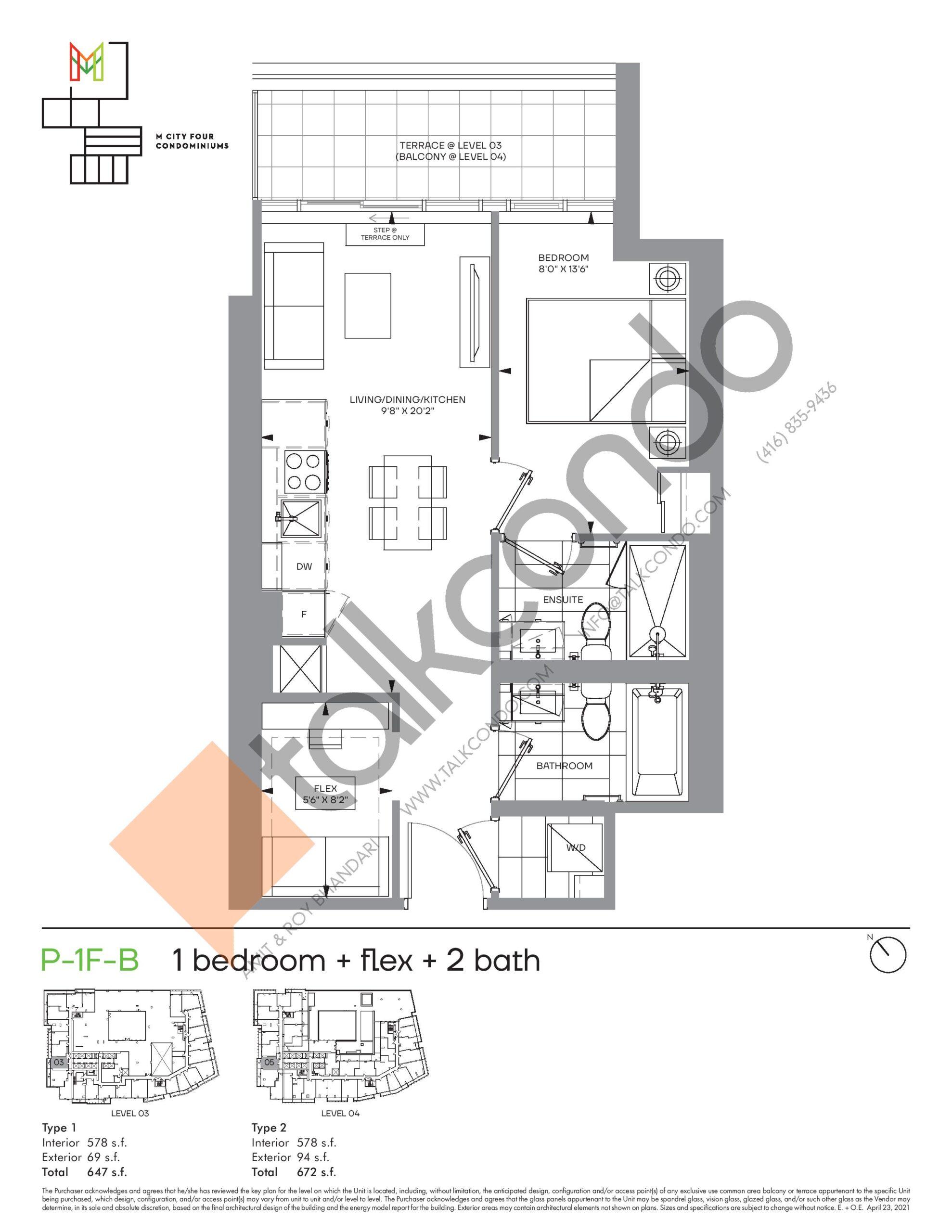 P-1F-B (Podium) Floor Plan at M4 Condos - 578 sq.ft