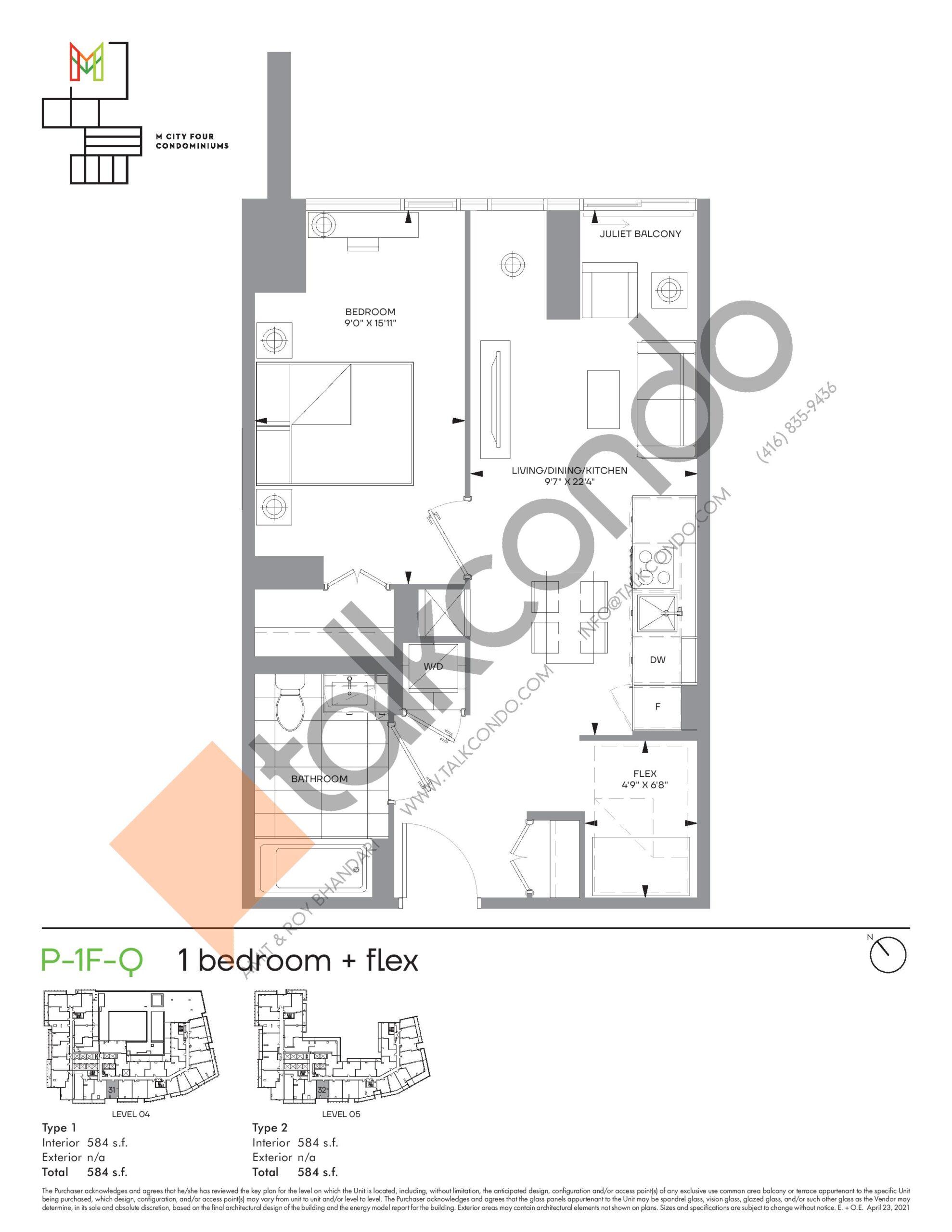 P-1F-Q (Podium) Floor Plan at M4 Condos - 584 sq.ft