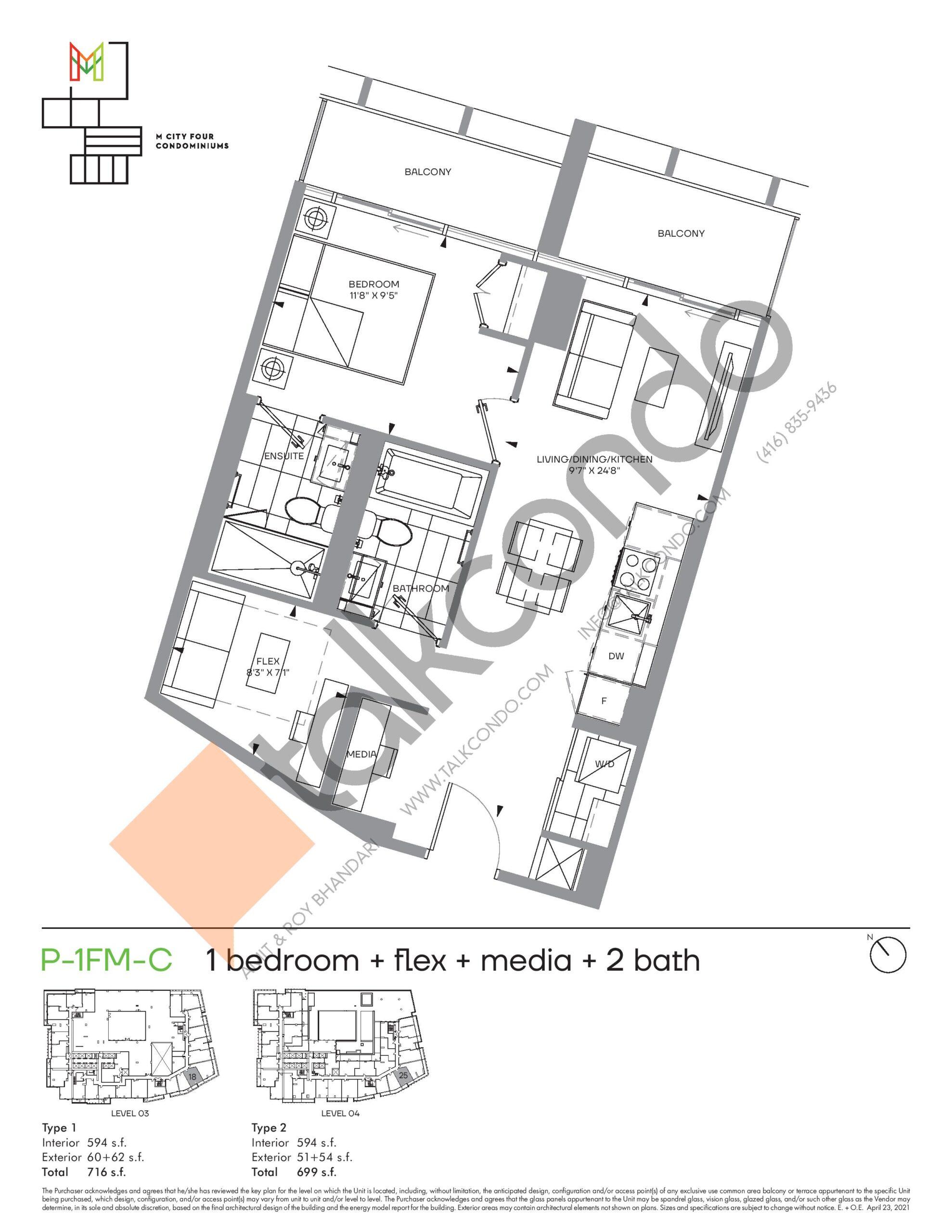 P-1FM-C (Podium) Floor Plan at M4 Condos - 594 sq.ft