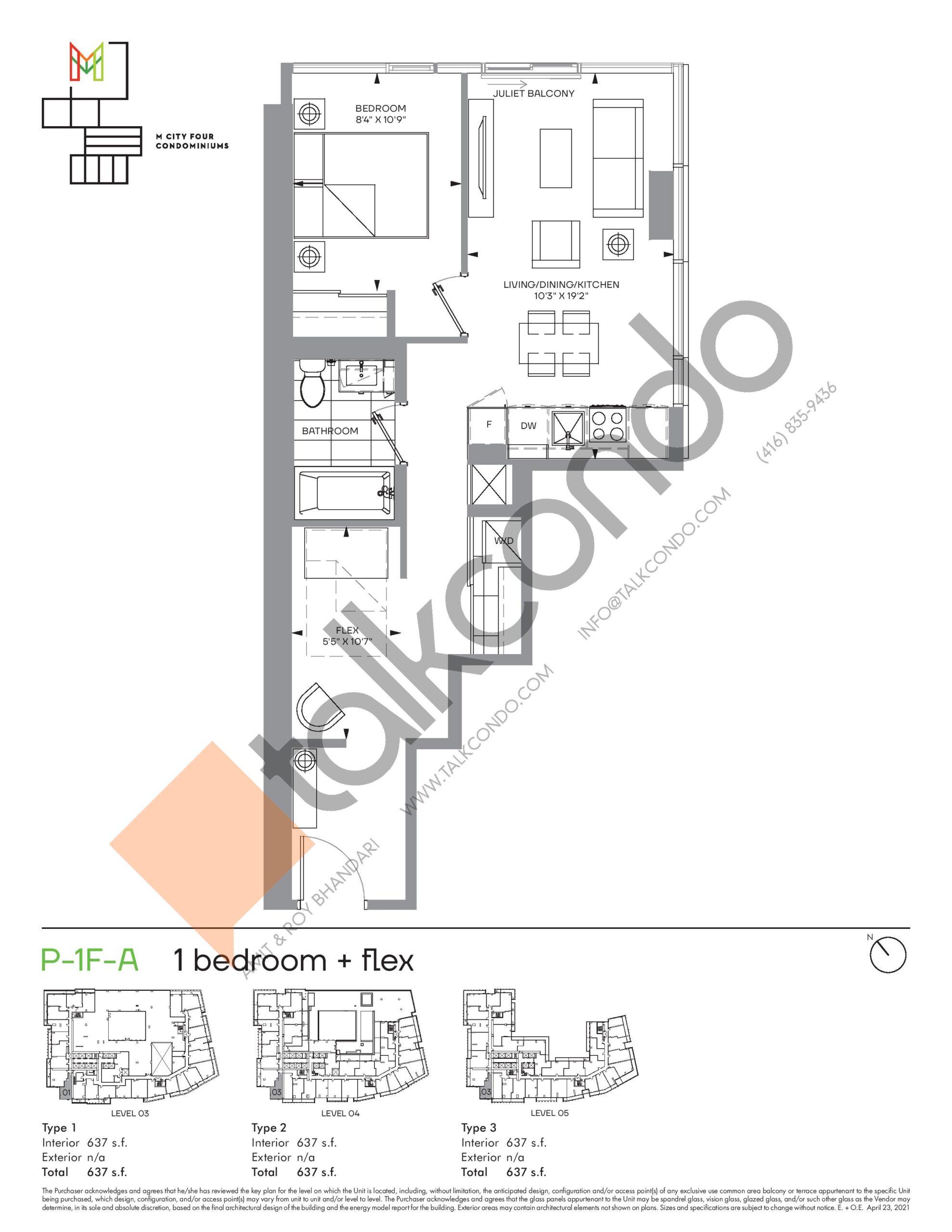 P-1F-A (Podium) Floor Plan at M4 Condos - 637 sq.ft