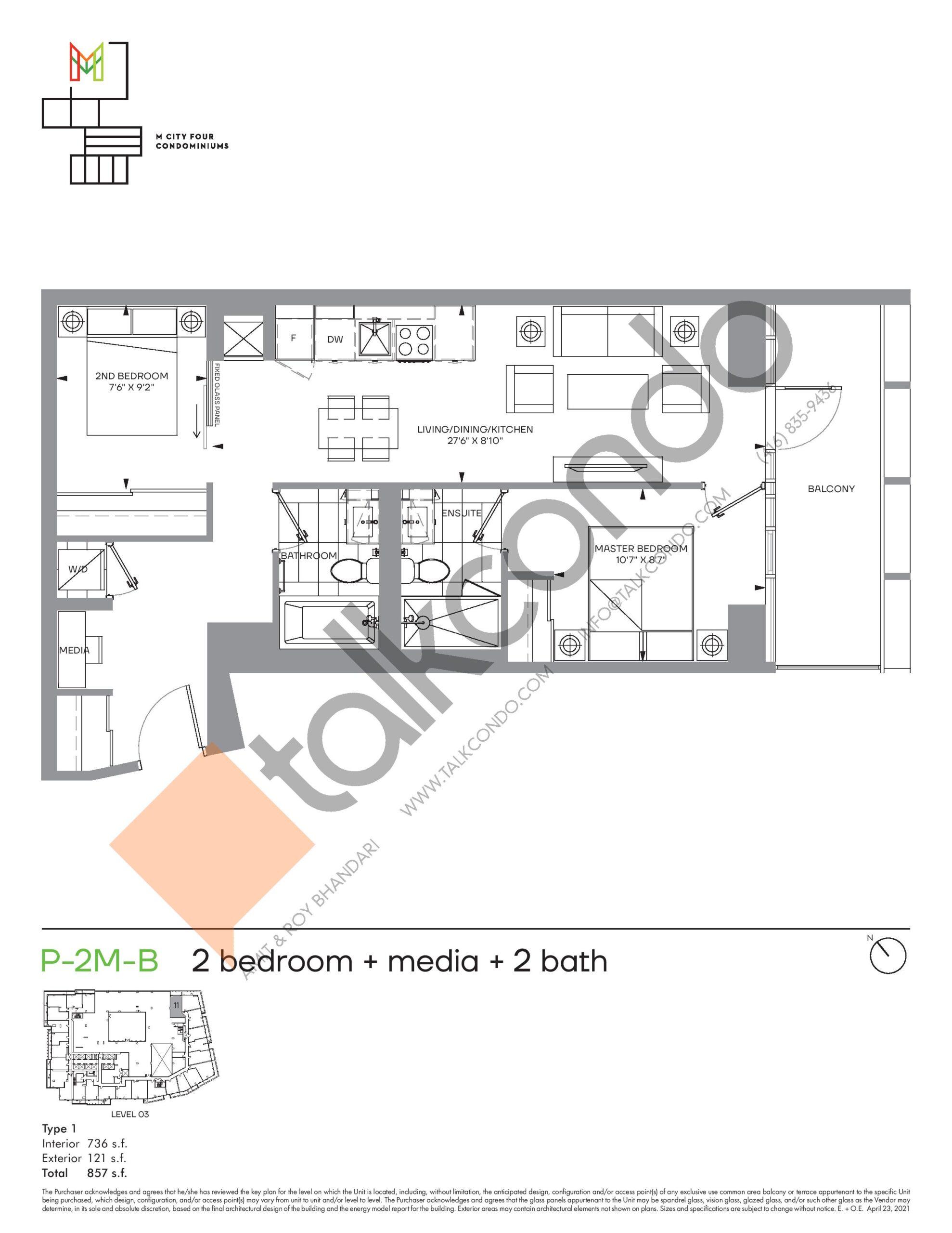 P-2M-B (Podium) Floor Plan at M4 Condos - 736 sq.ft