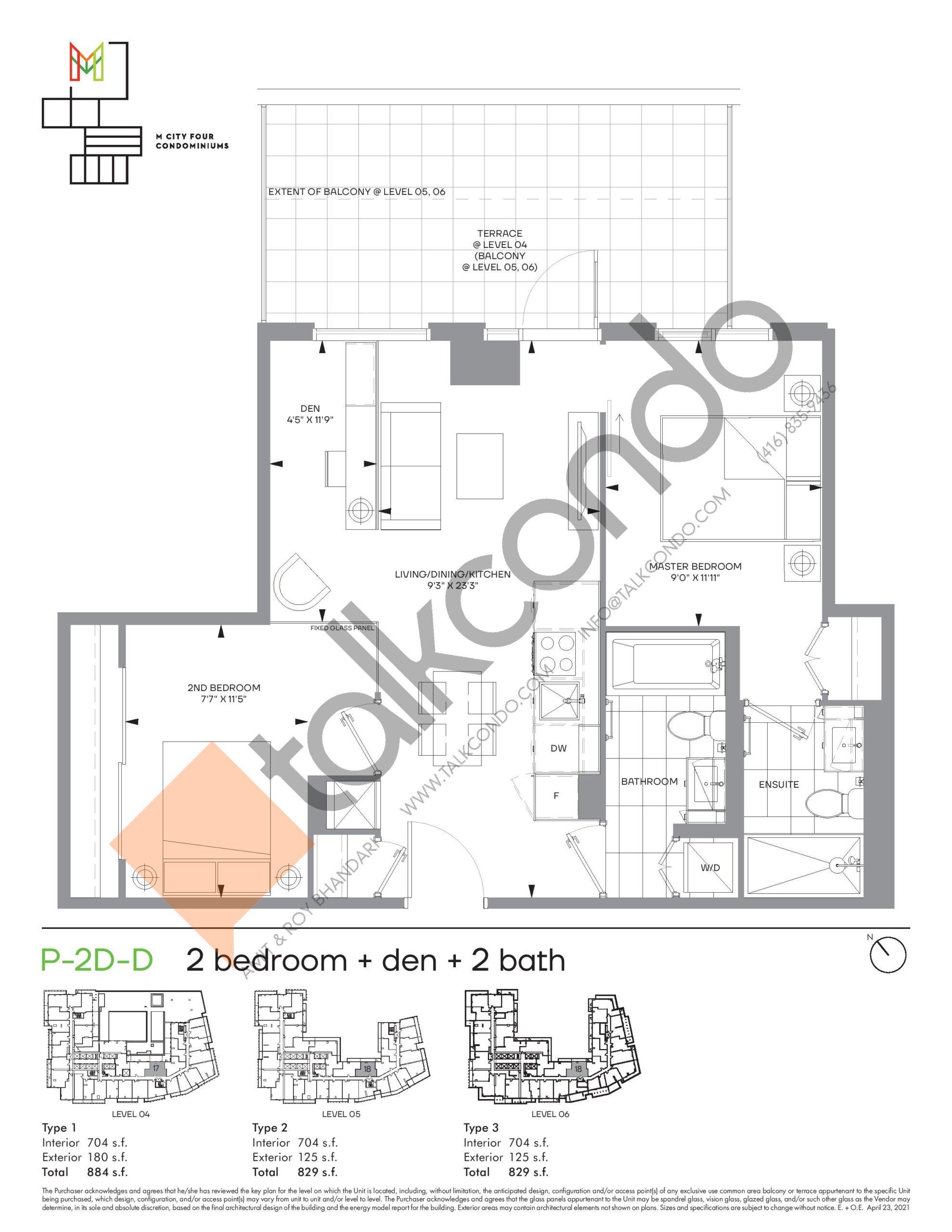 P-2D-D (Podium) Floor Plan at M4 Condos - 704 sq.ft