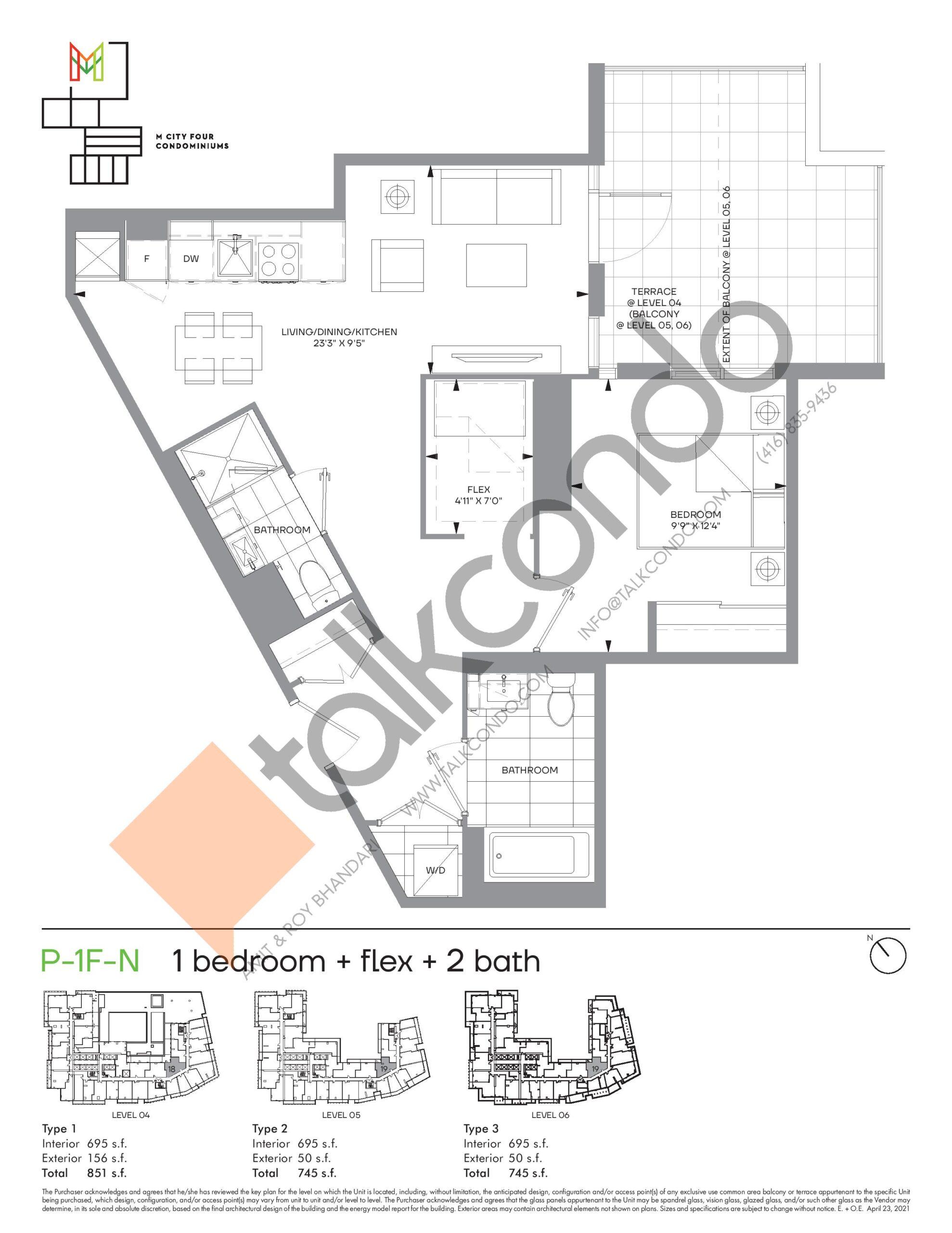 P-1F-N (Podium) Floor Plan at M4 Condos - 695 sq.ft