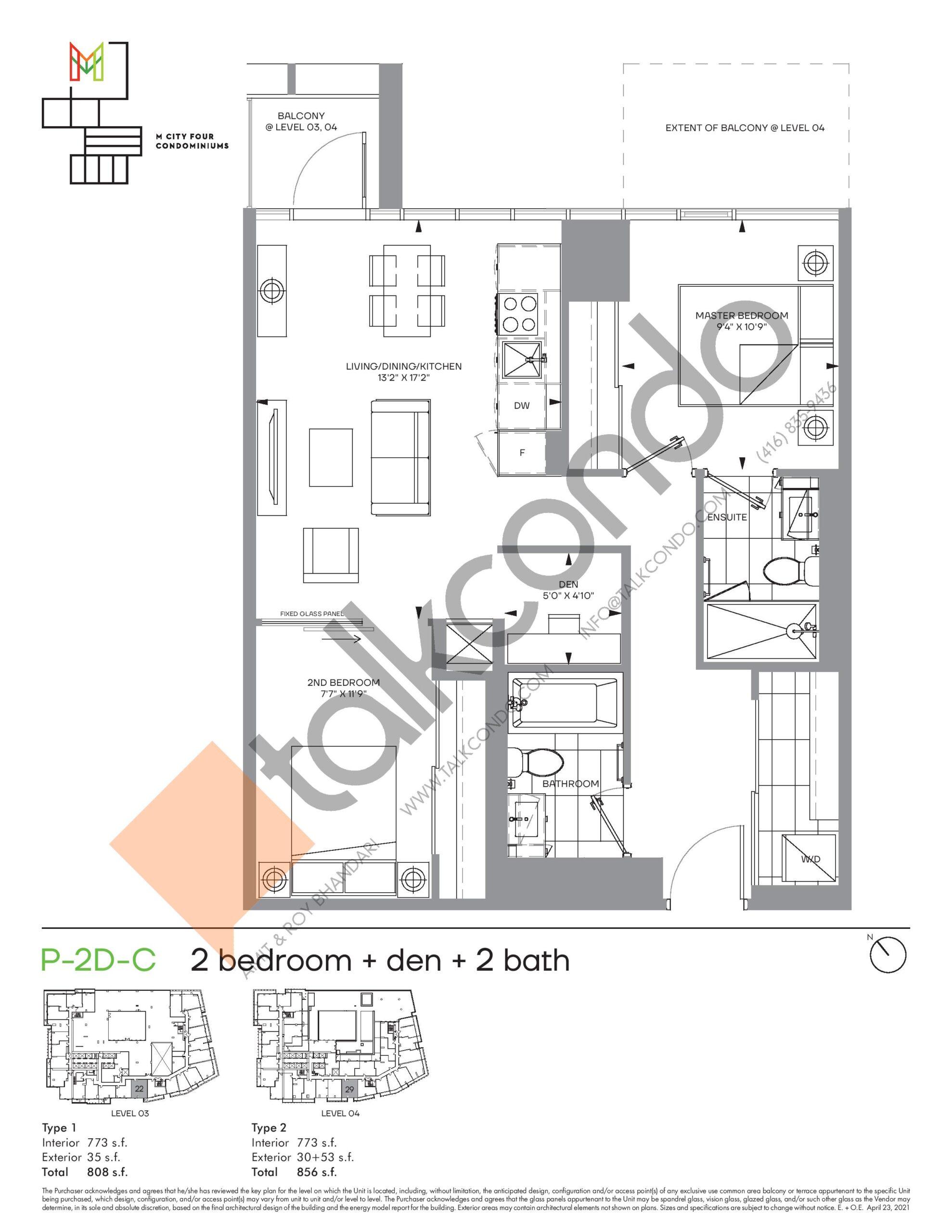 P-2D-C (Podium) Floor Plan at M4 Condos - 773 sq.ft