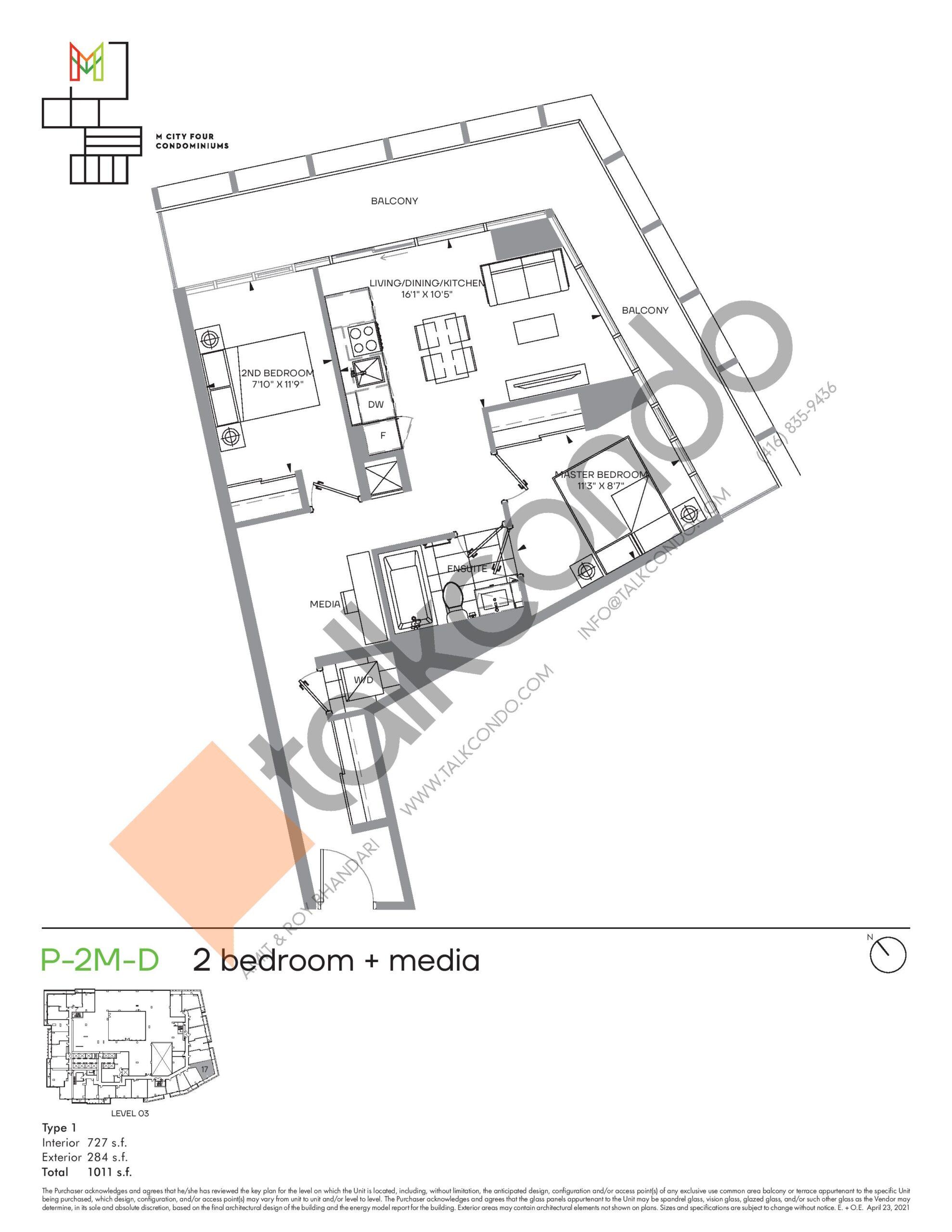P-2M-D (Podium) Floor Plan at M4 Condos - 727 sq.ft