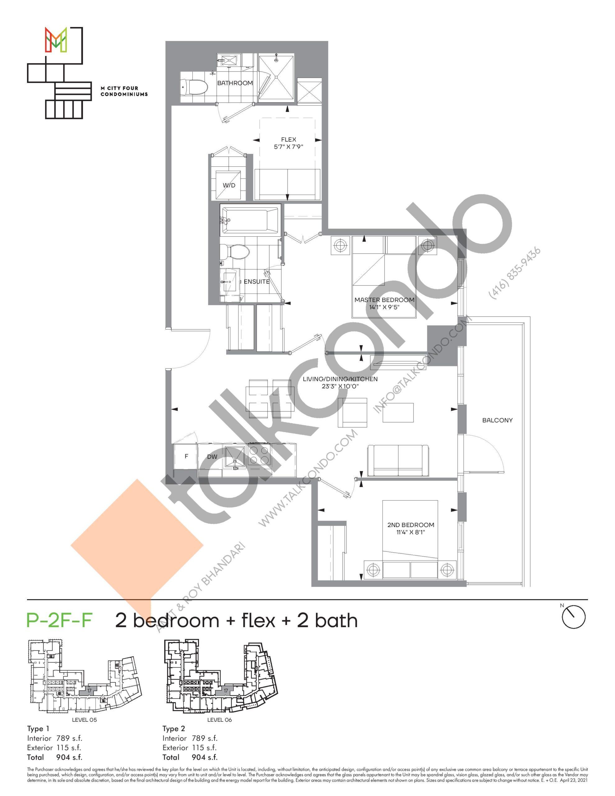 P-2F-F (Podium) Floor Plan at M4 Condos - 789 sq.ft