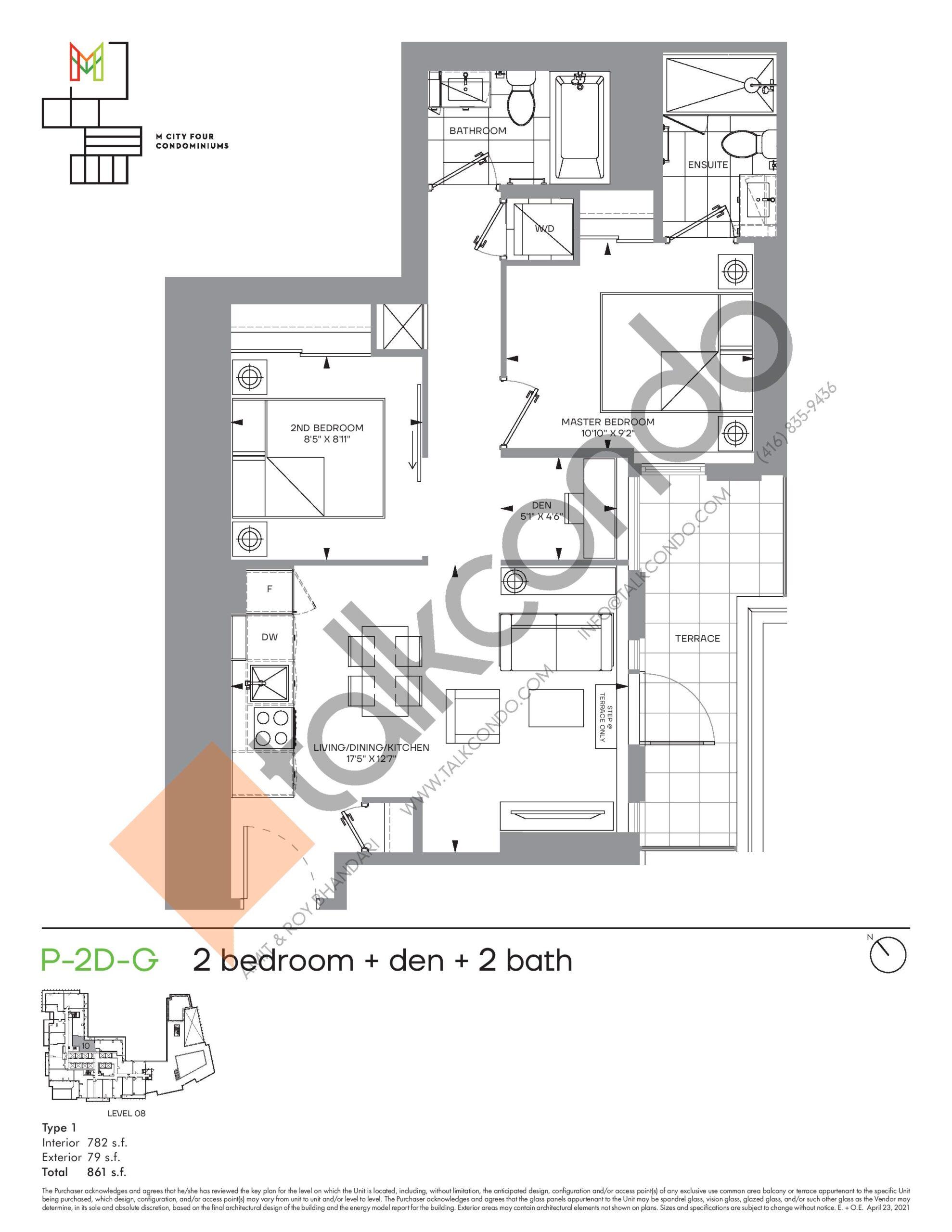 P-2D-G (Podium) Floor Plan at M4 Condos - 782 sq.ft