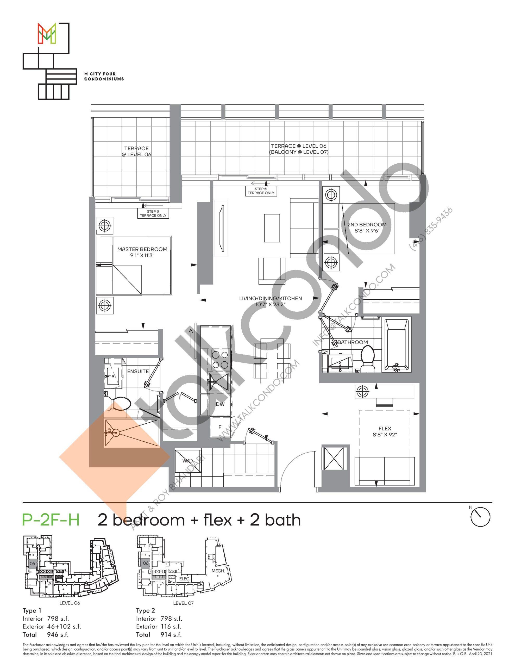 P-2F-H (Podium) Floor Plan at M4 Condos - 798 sq.ft