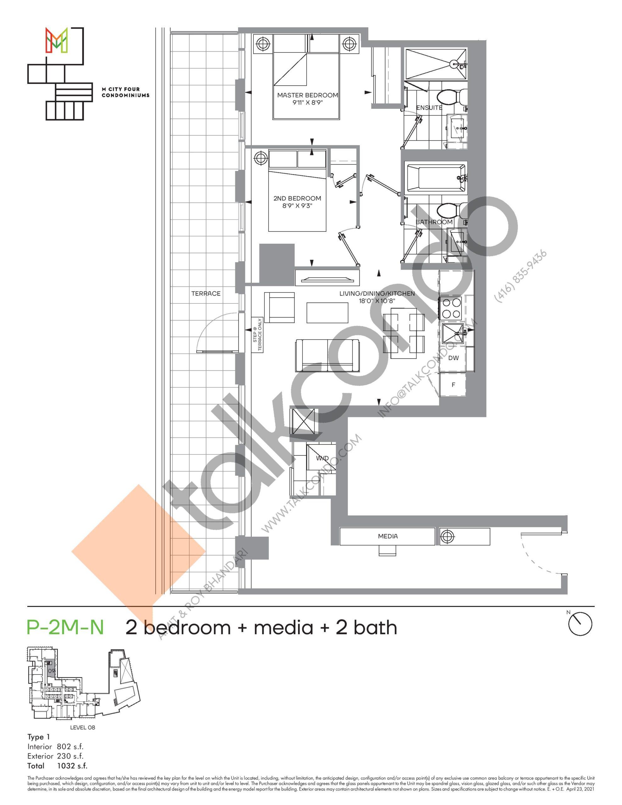 P-2M-N (Podium) Floor Plan at M4 Condos - 802 sq.ft