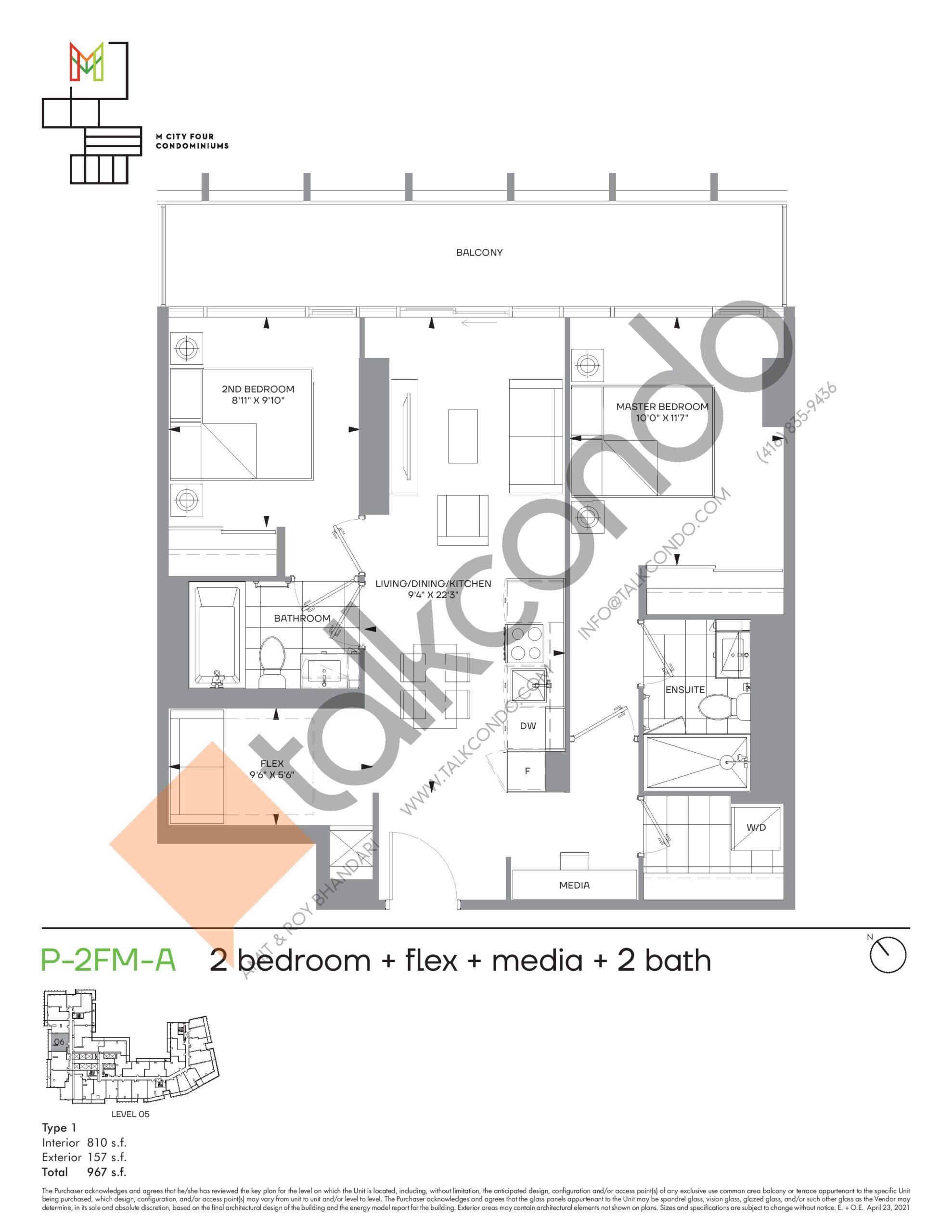 P-2FM-A (Podium) Floor Plan at M4 Condos - 810 sq.ft