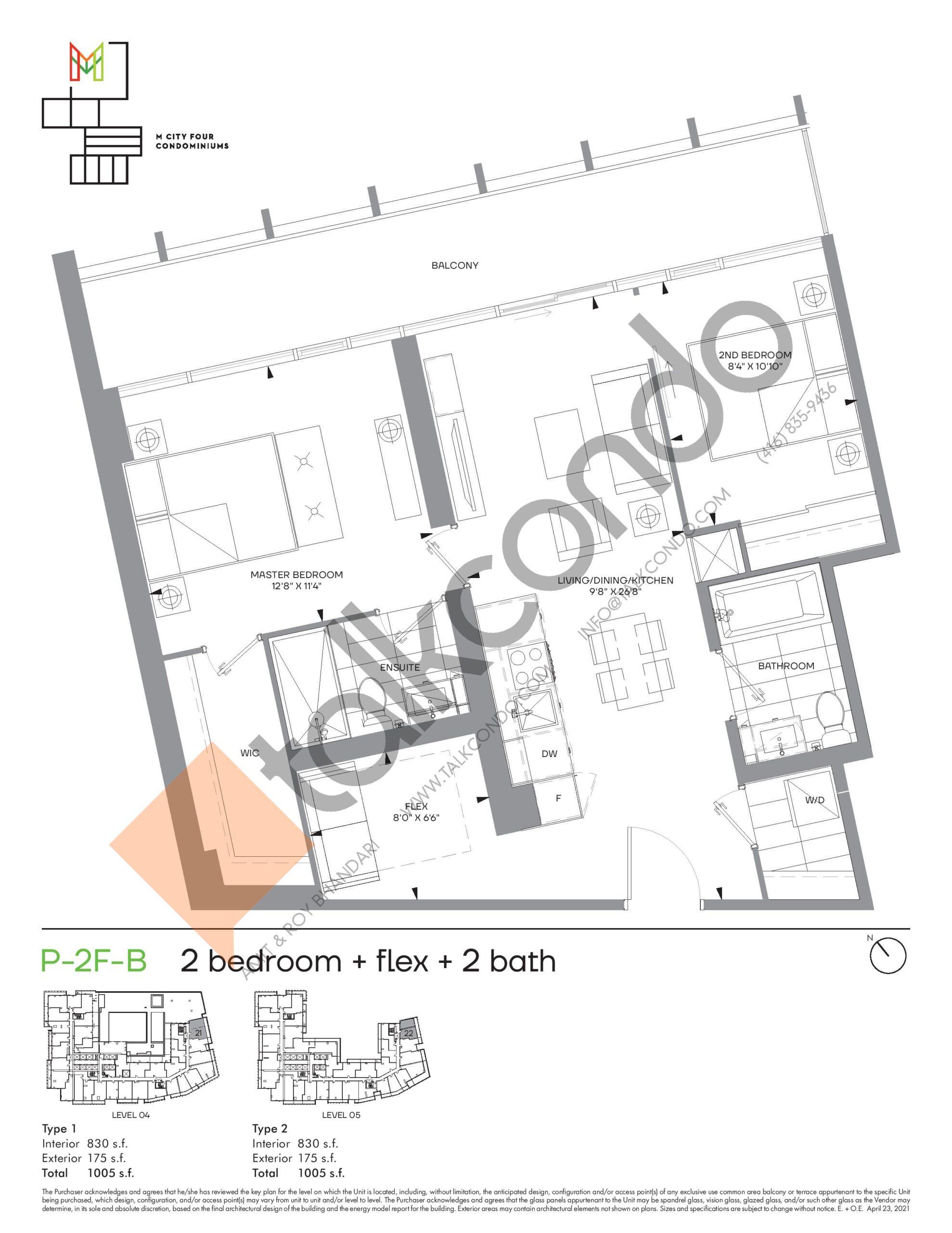 P-2F-B (Podium) Floor Plan at M4 Condos - 830 sq.ft