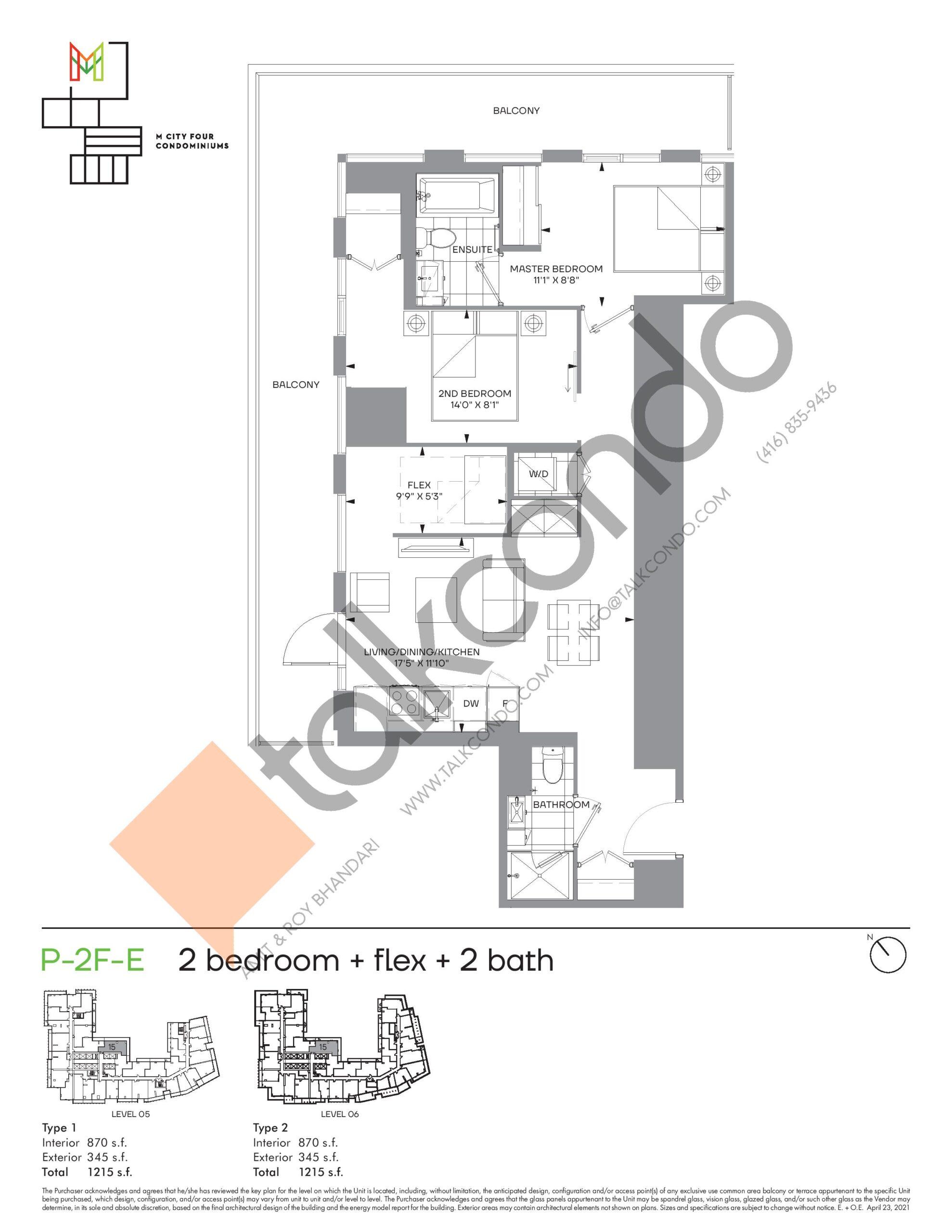 P-2F-E (Podium) Floor Plan at M4 Condos - 870 sq.ft