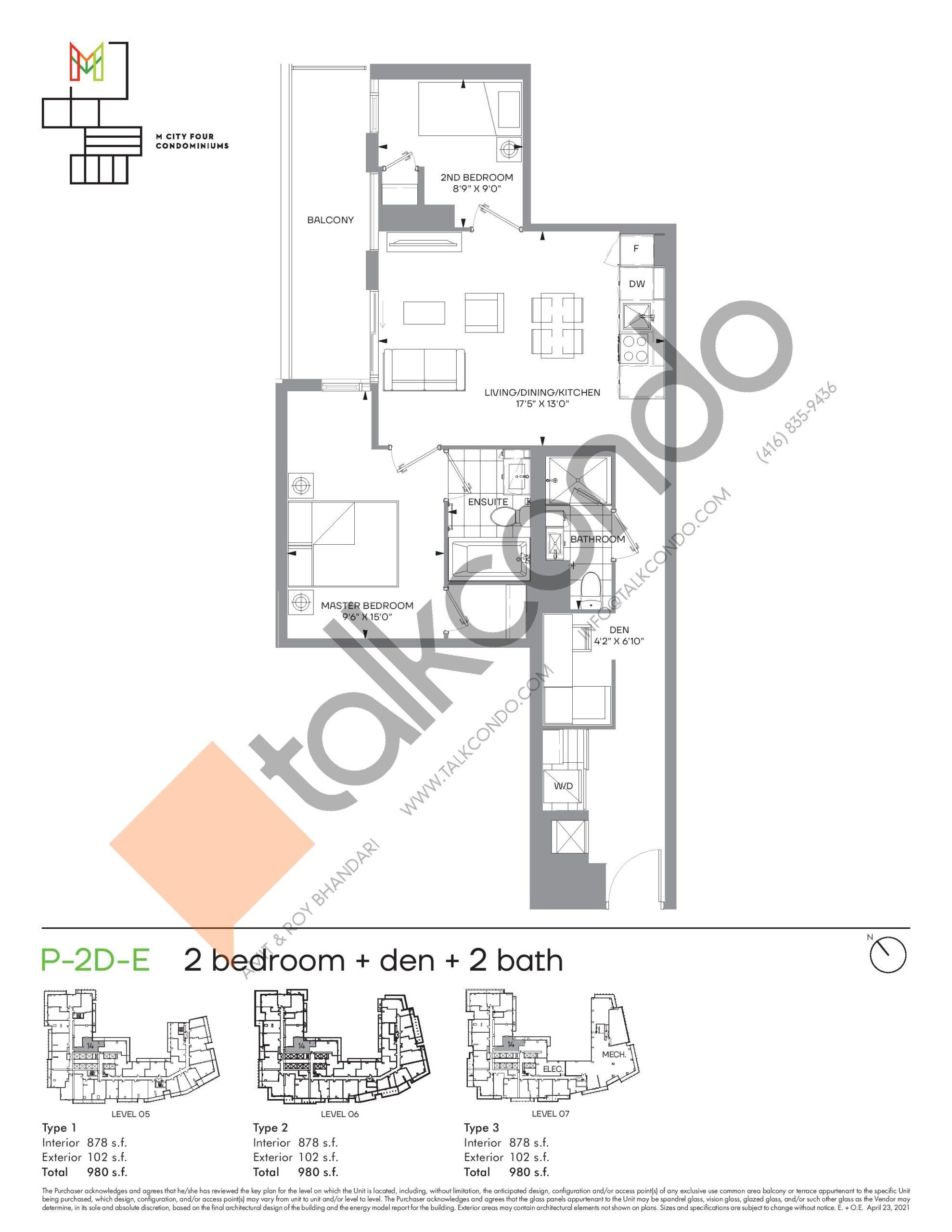 P-2D-E (Podium) Floor Plan at M4 Condos - 878 sq.ft