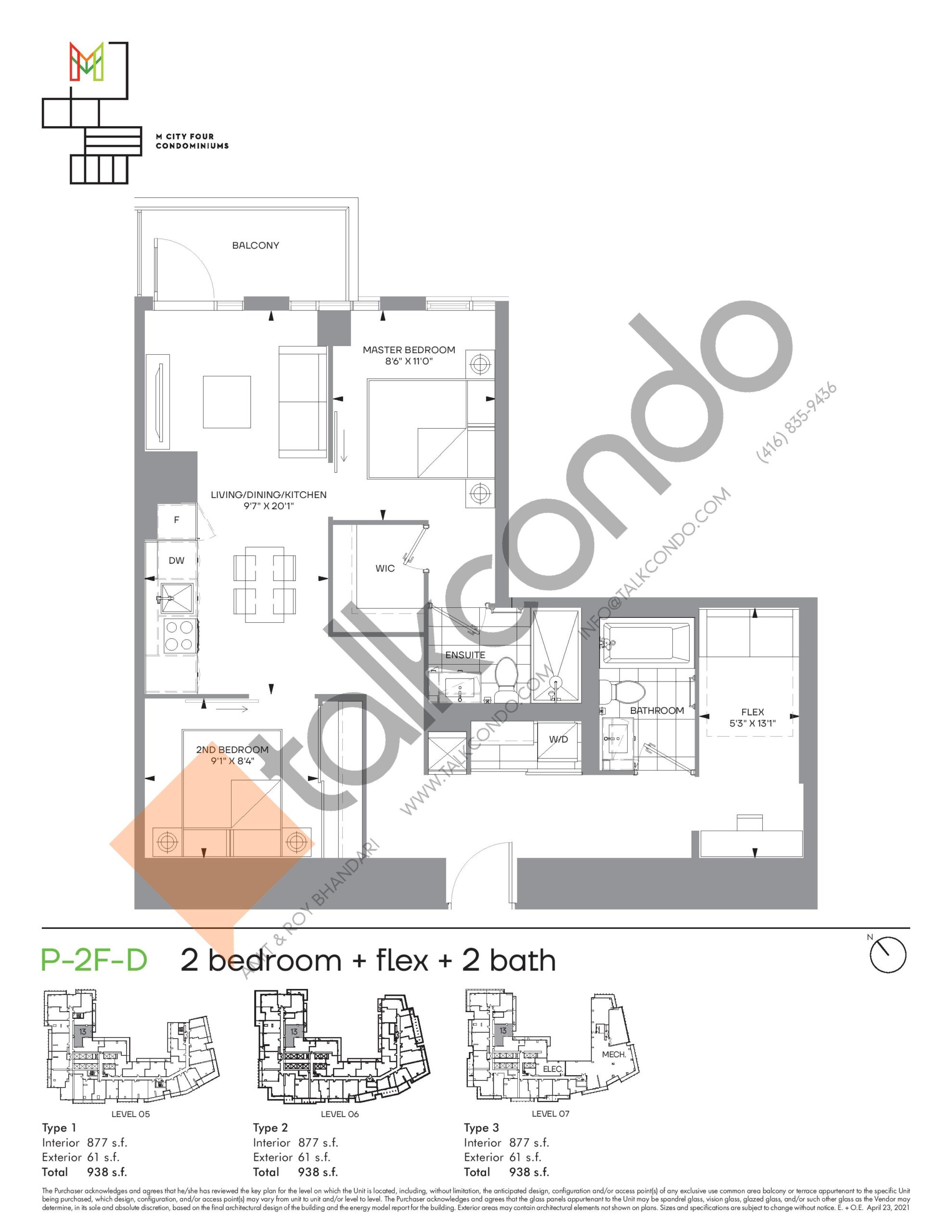 P-2F-D (Podium) Floor Plan at M4 Condos - 877 sq.ft