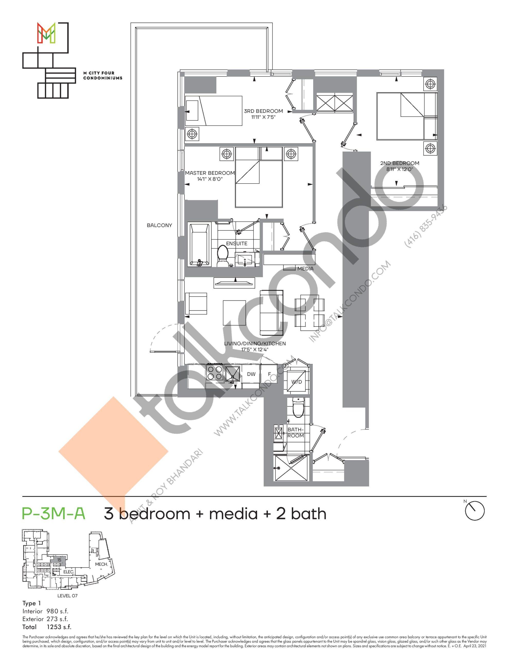 P-3M-A (Podium) Floor Plan at M4 Condos - 980 sq.ft