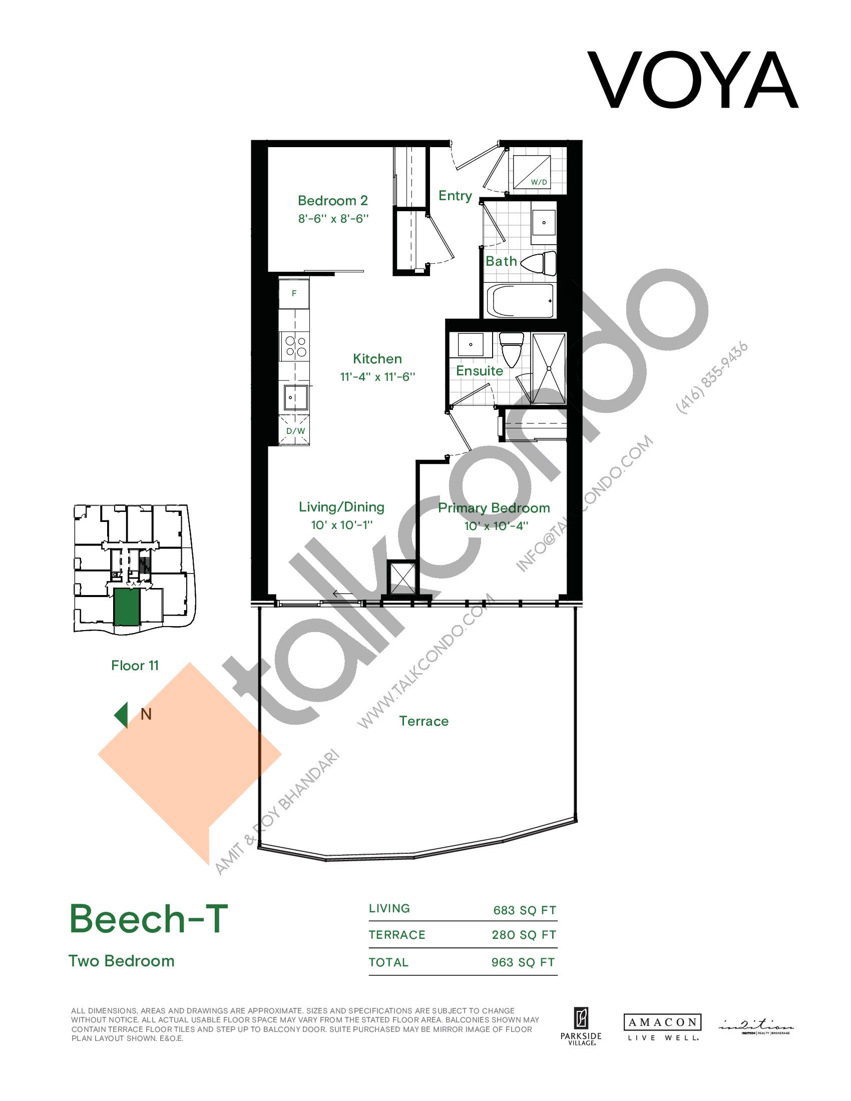 Beech-T Floor Plan at Voya at Parkside Village Condos - 683 sq.ft