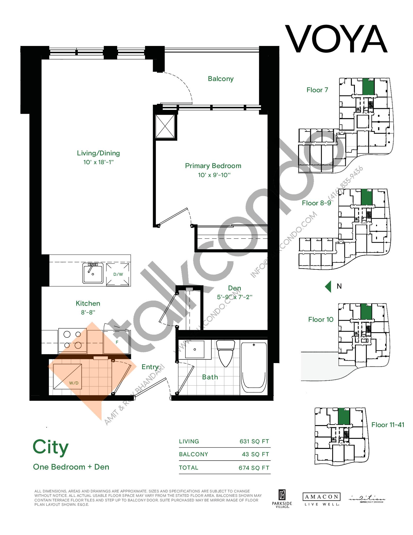 City Floor Plan at Voya at Parkside Village Condos - 631 sq.ft