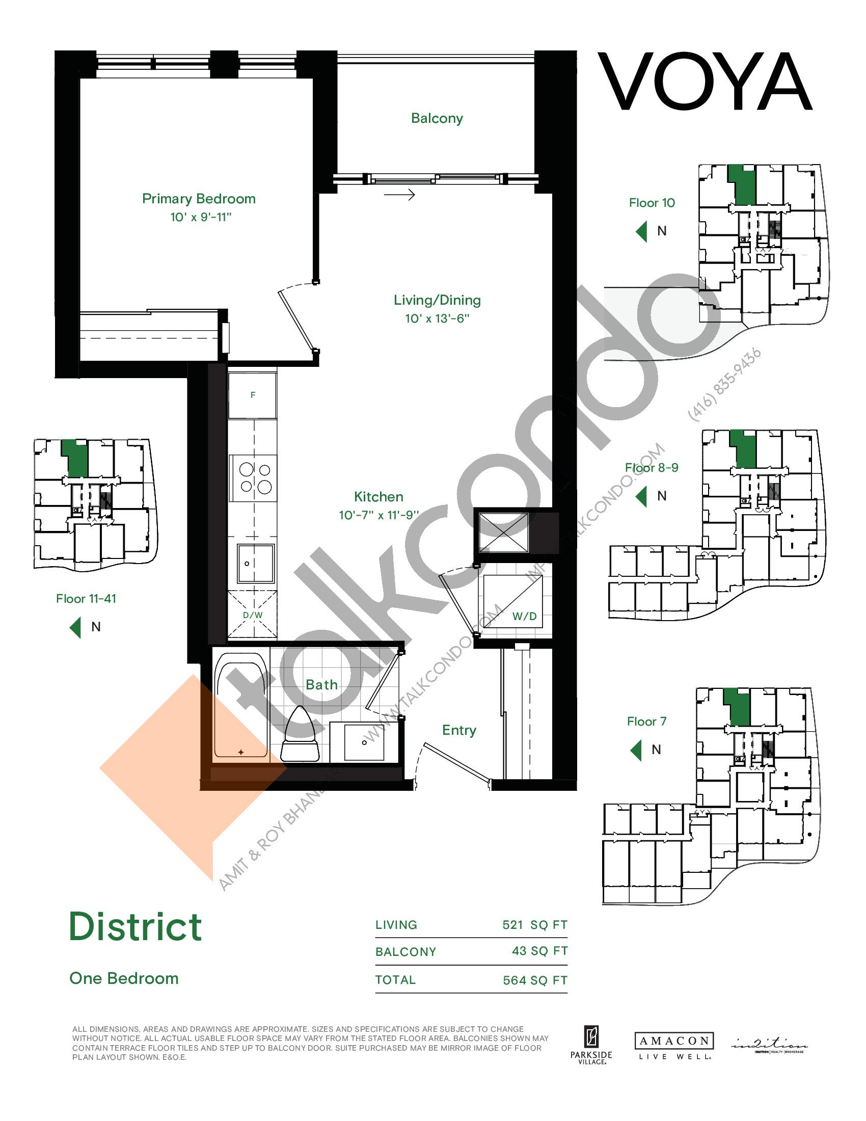 District Floor Plan at Voya at Parkside Village Condos - 521 sq.ft
