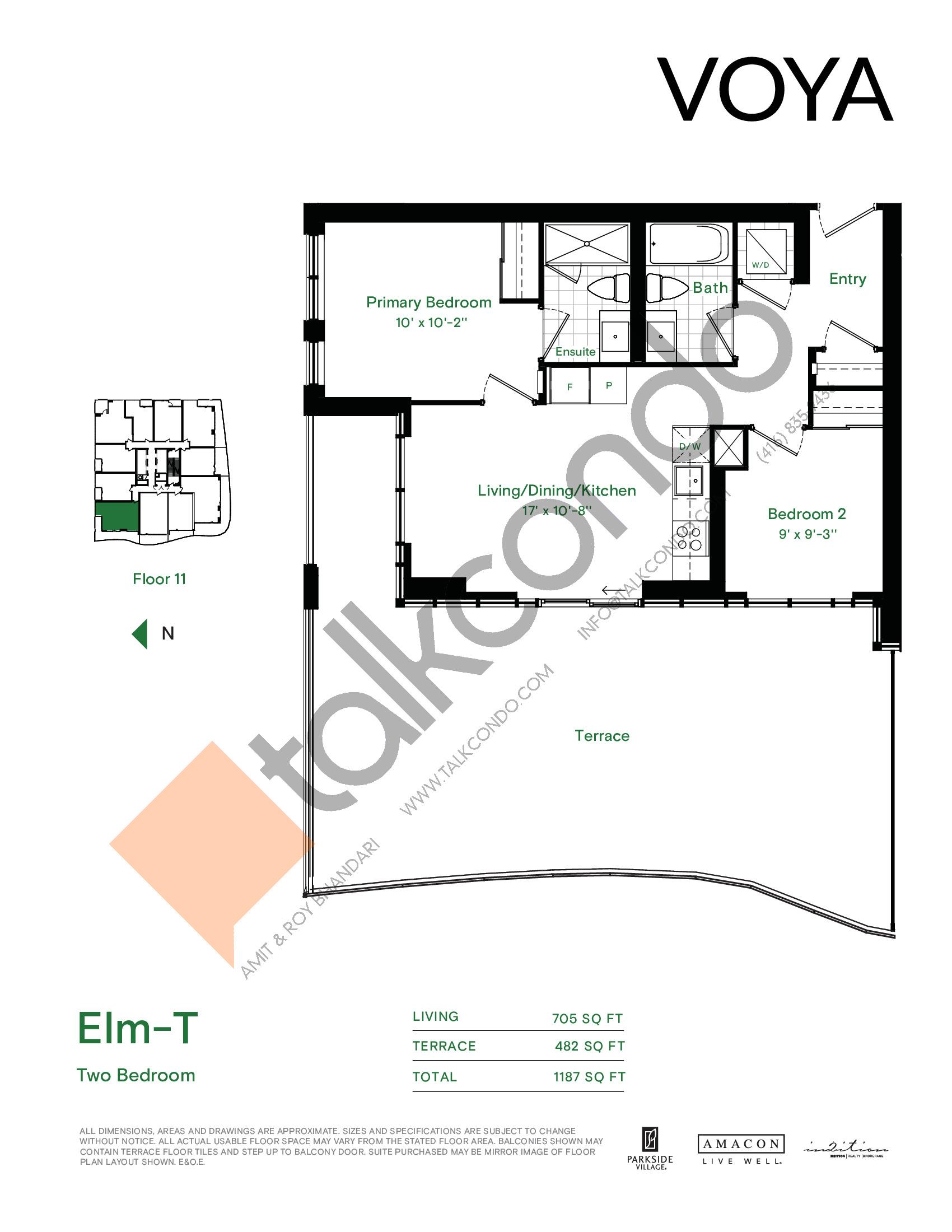 Elm-T Floor Plan at Voya at Parkside Village Condos - 705 sq.ft