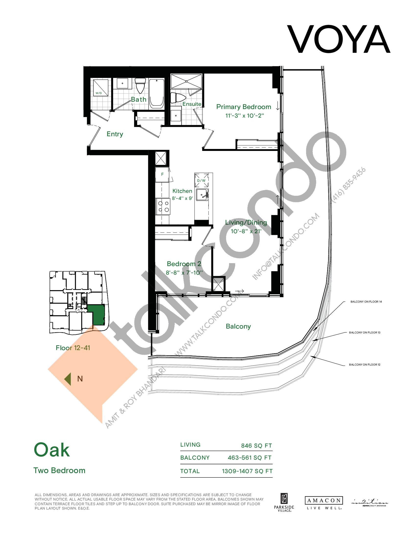 Oak Floor Plan at Voya at Parkside Village Condos - 846 sq.ft
