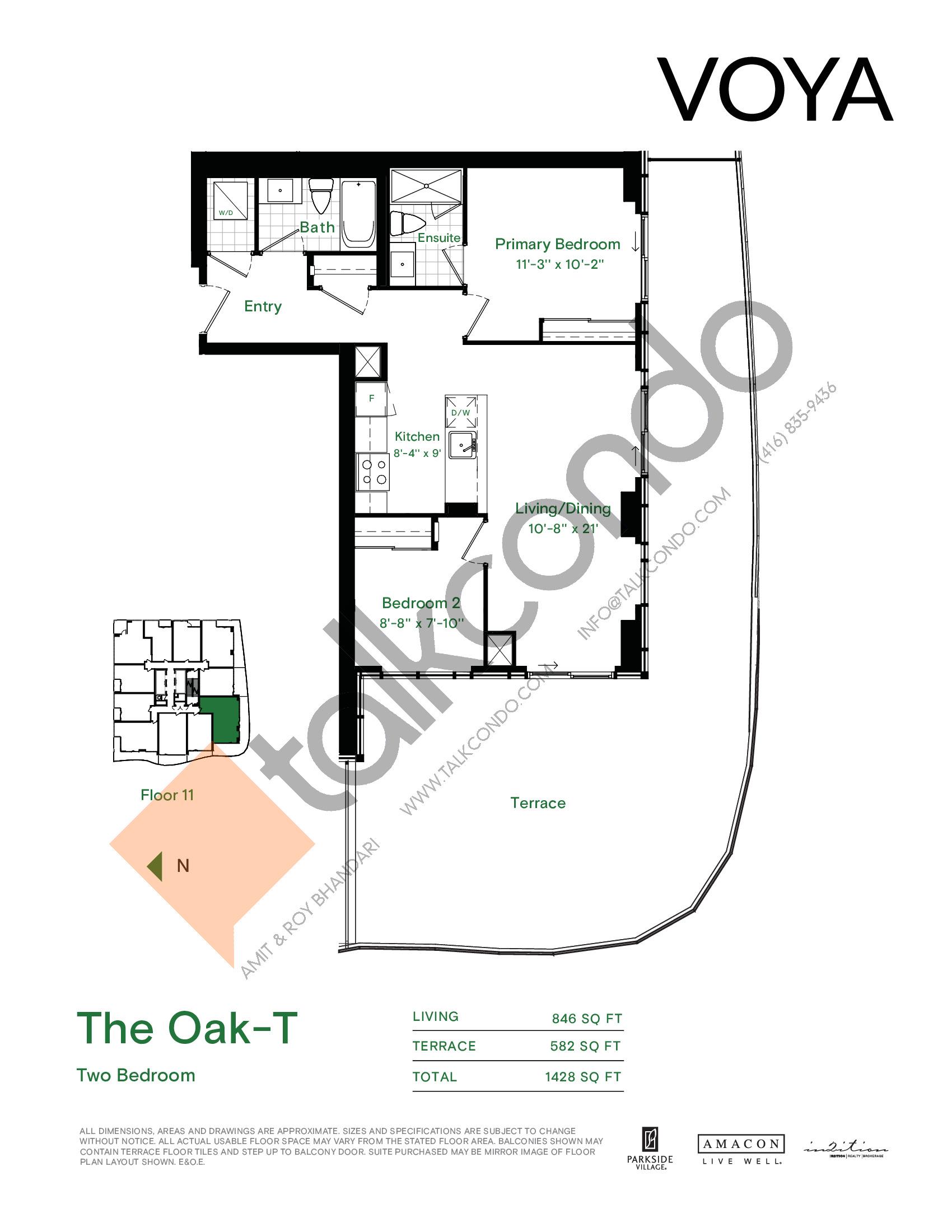 The Oak-T Floor Plan at Voya at Parkside Village Condos - 846 sq.ft