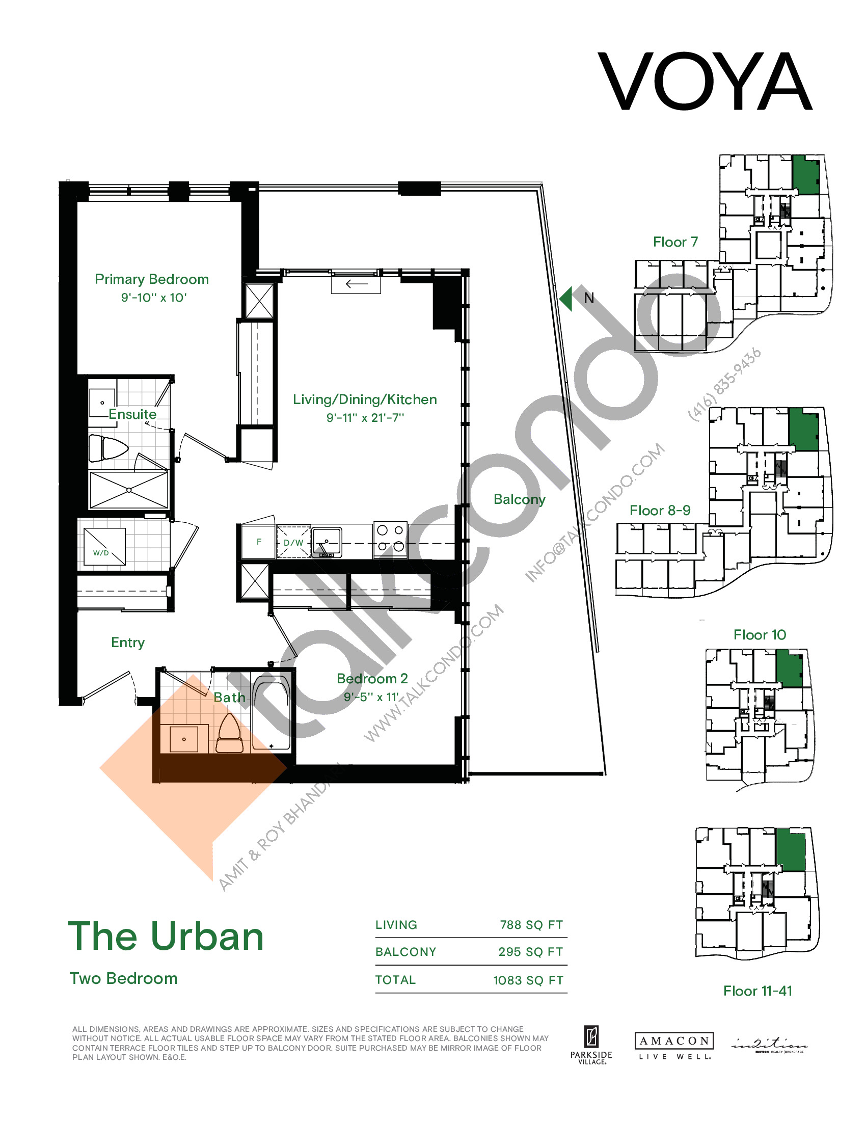 The Urban Floor Plan at Voya at Parkside Village Condos - 788 sq.ft