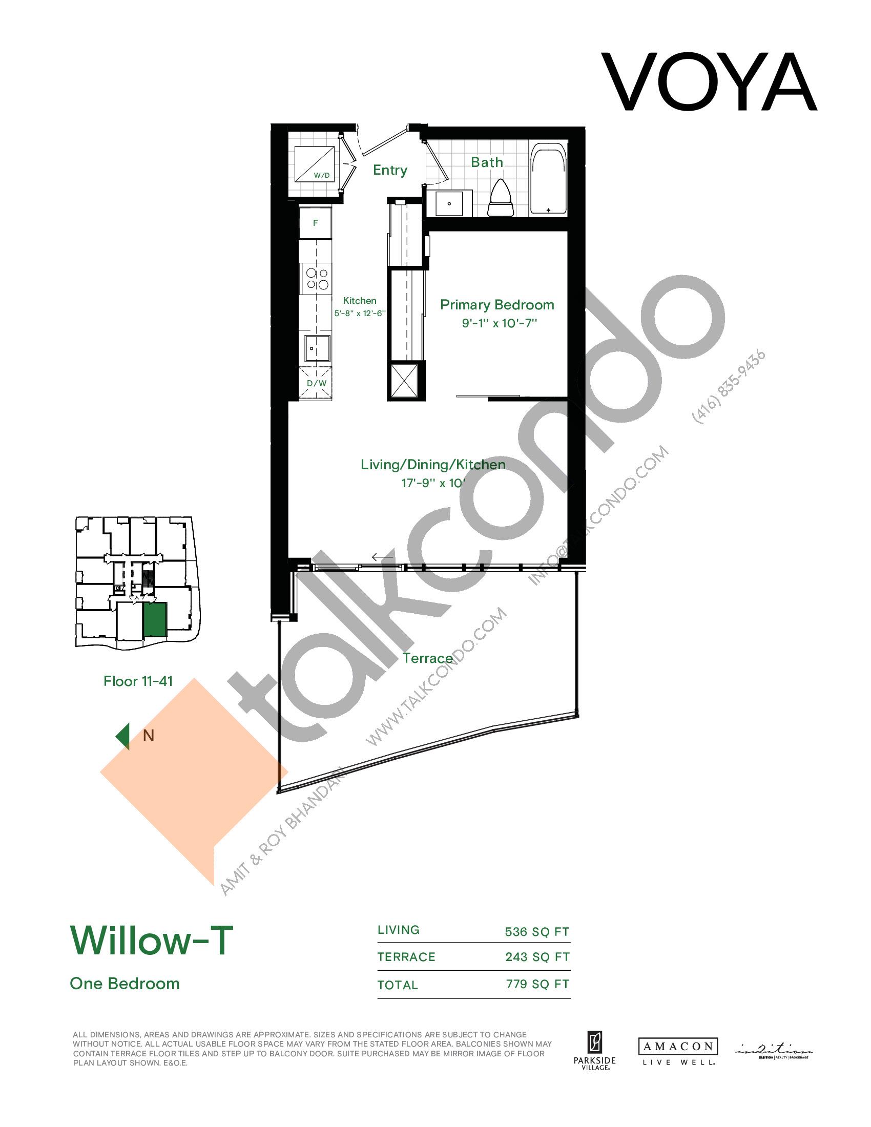 Willow-T Floor Plan at Voya at Parkside Village Condos - 536 sq.ft
