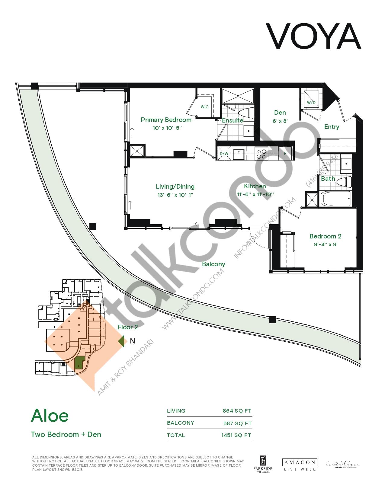Aloe (Podium) Floor Plan at Voya at Parkside Village Condos - 864 sq.ft