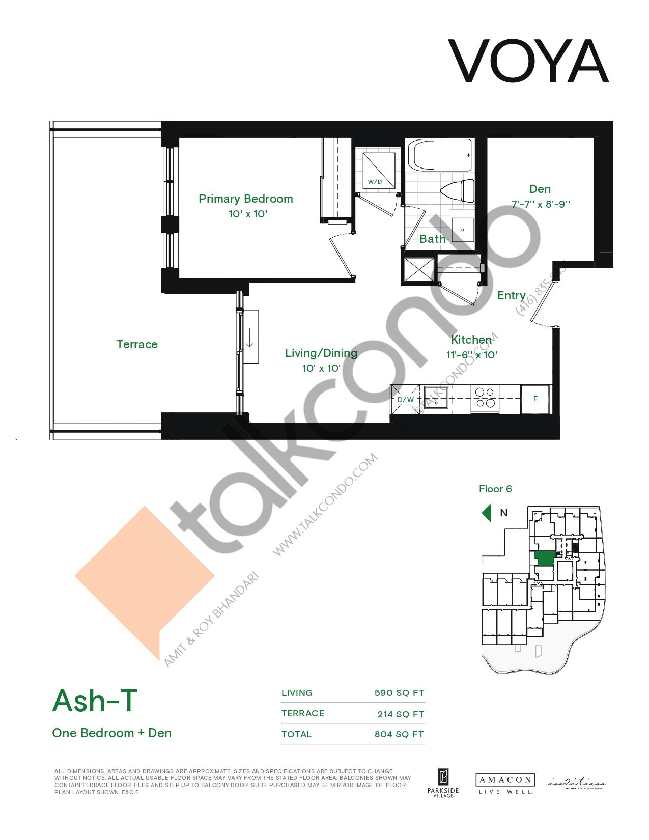 Ash-T (Podium) Floor Plan at Voya at Parkside Village Condos - 590 sq.ft