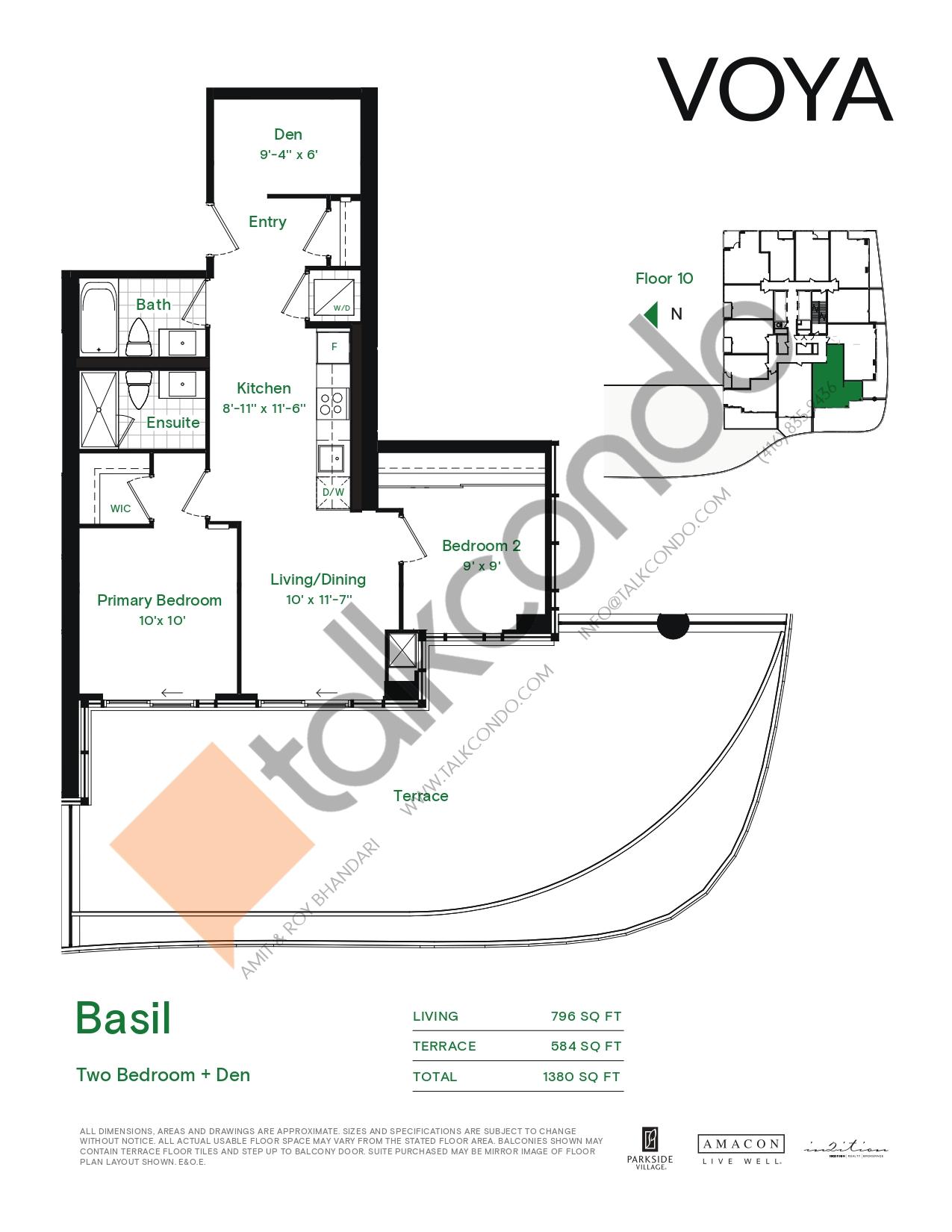 Basil (Podium) Floor Plan at Voya at Parkside Village Condos - 796 sq.ft