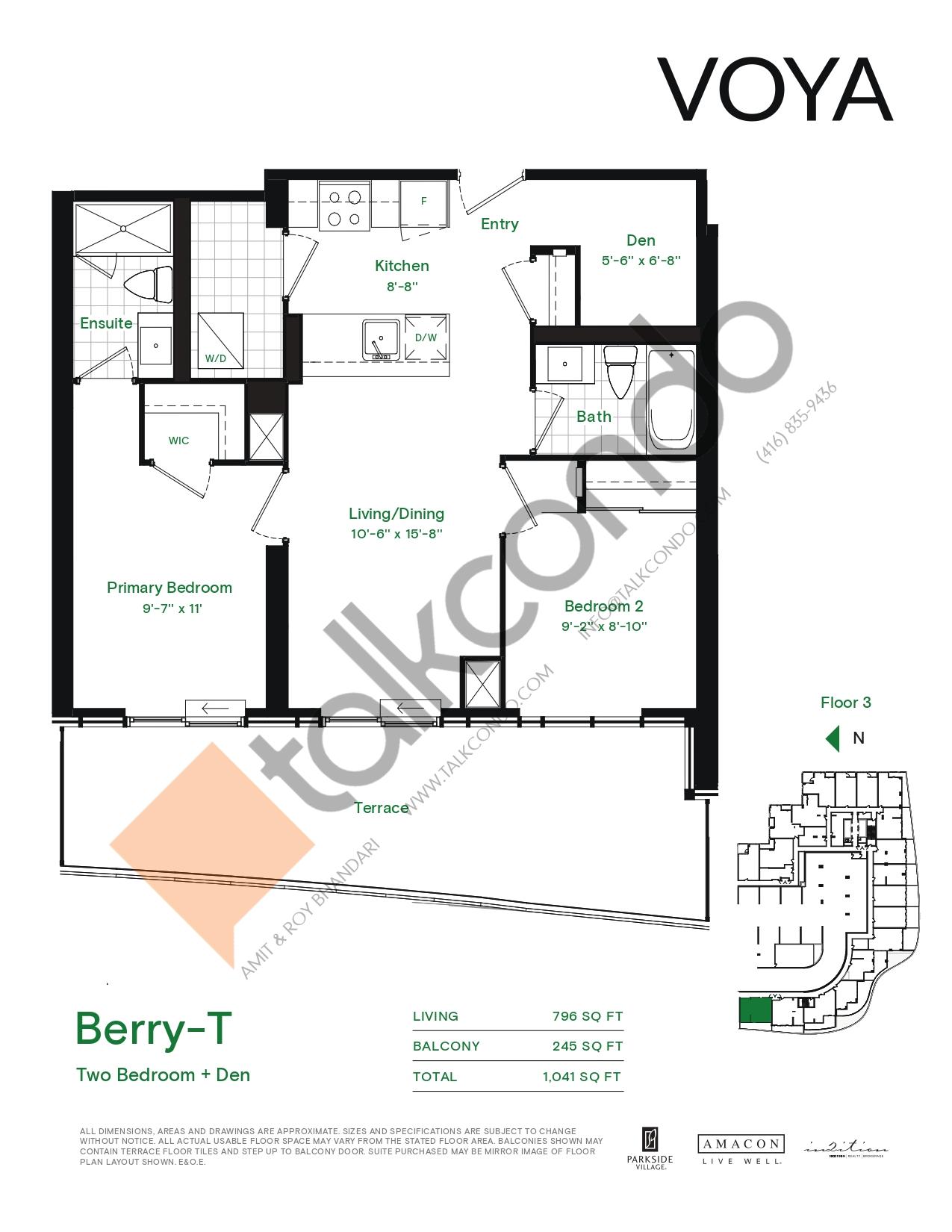 Berry-T (Podium) Floor Plan at Voya at Parkside Village Condos - 796 sq.ft