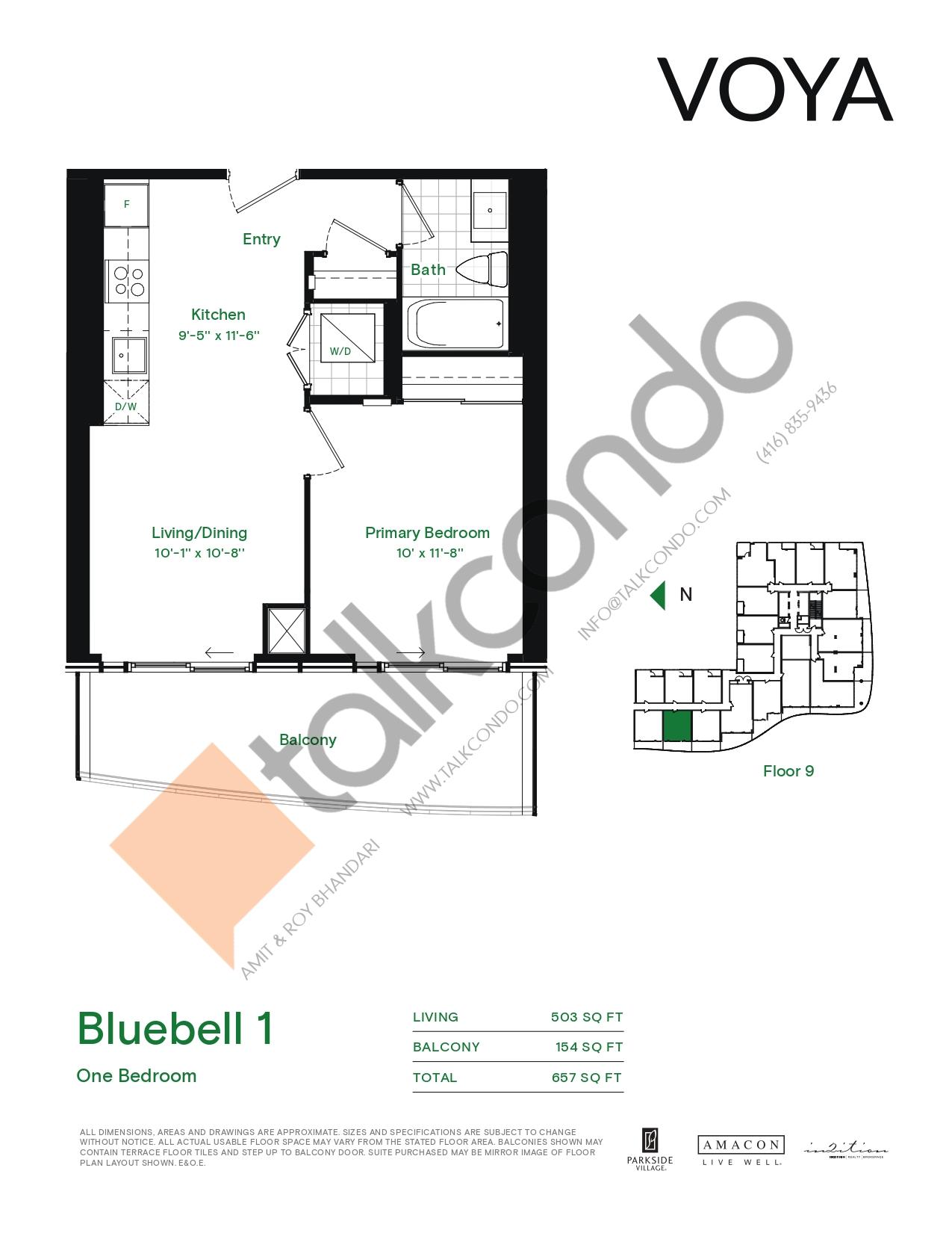 Bluebell 1 (Podium) Floor Plan at Voya at Parkside Village Condos - 503 sq.ft