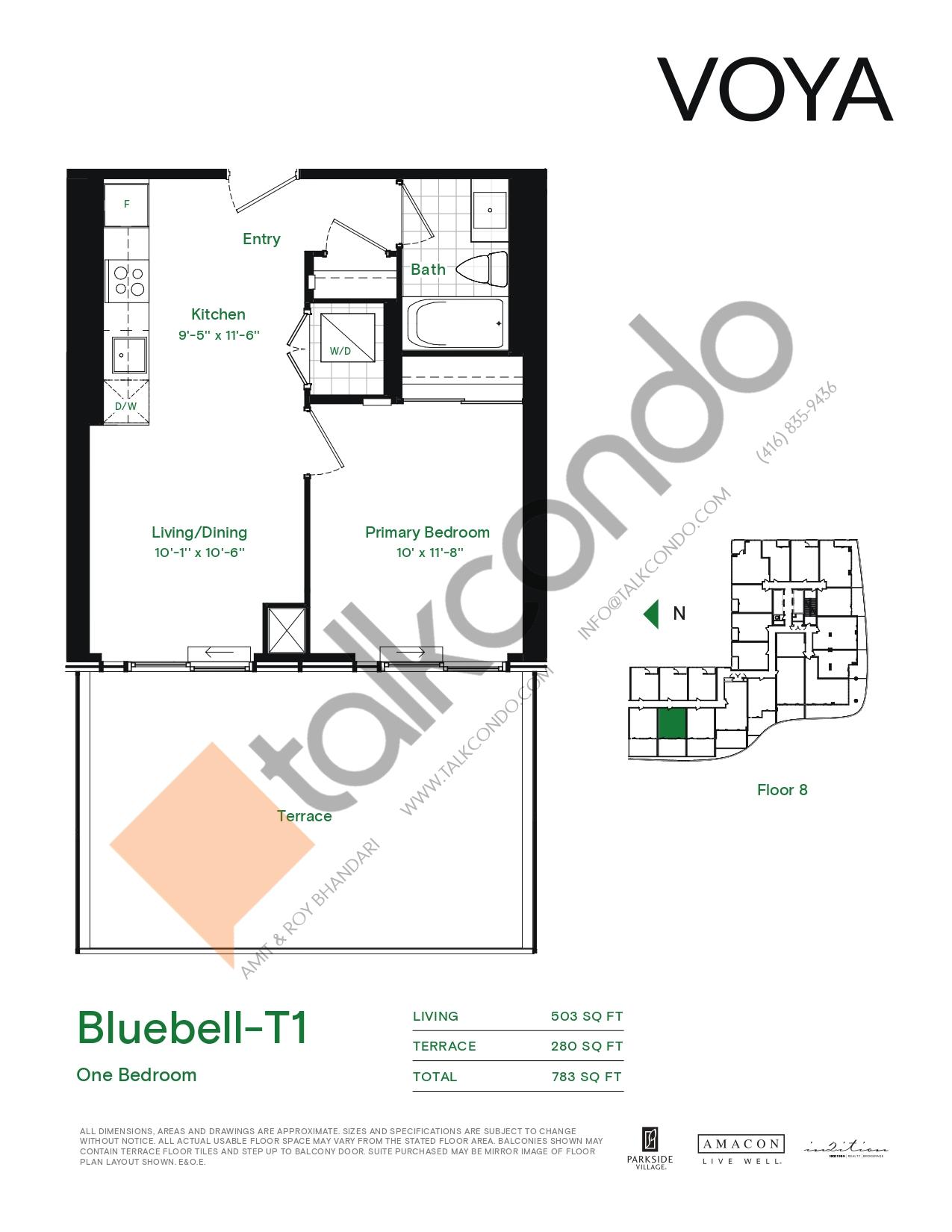 Bluebell-T1 (Podium) Floor Plan at Voya at Parkside Village Condos - 503 sq.ft