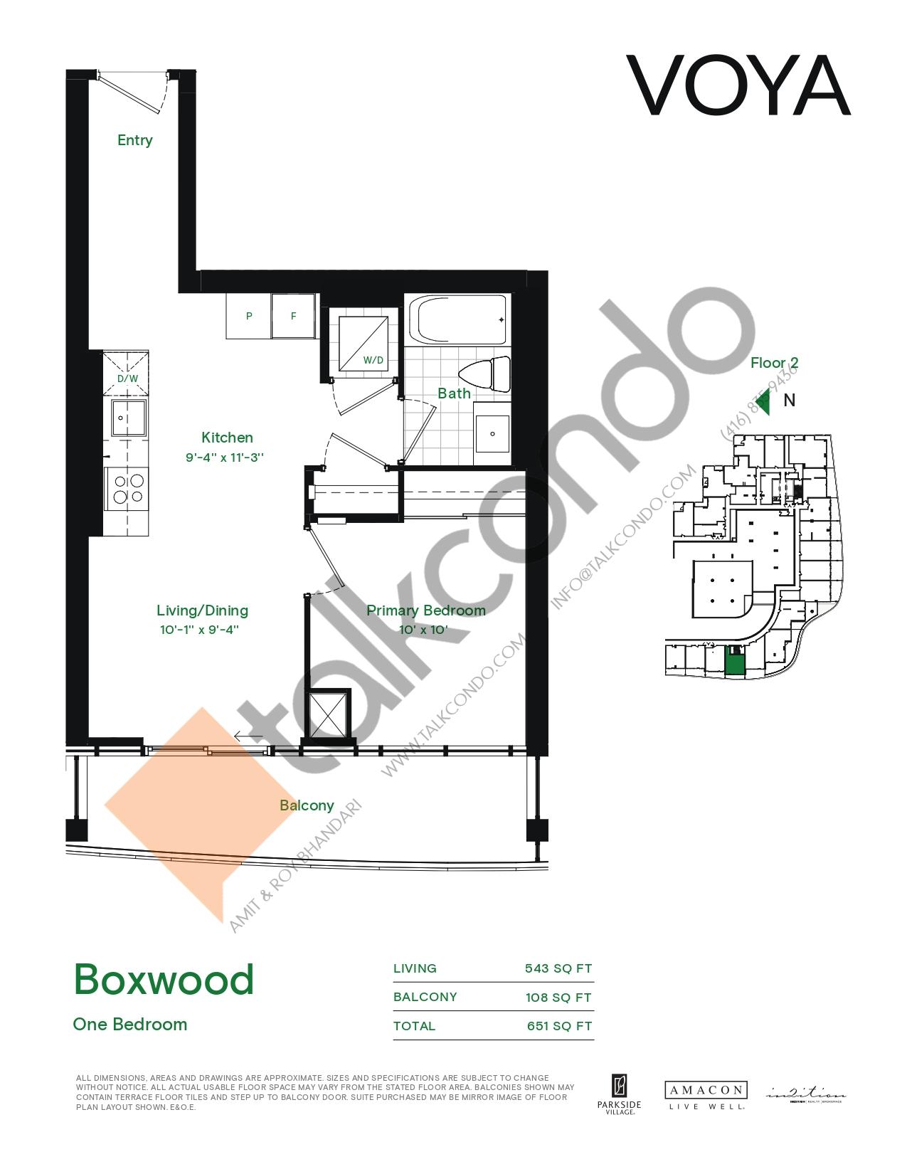 Boxwood (Podium) Floor Plan at Voya at Parkside Village Condos - 543 sq.ft