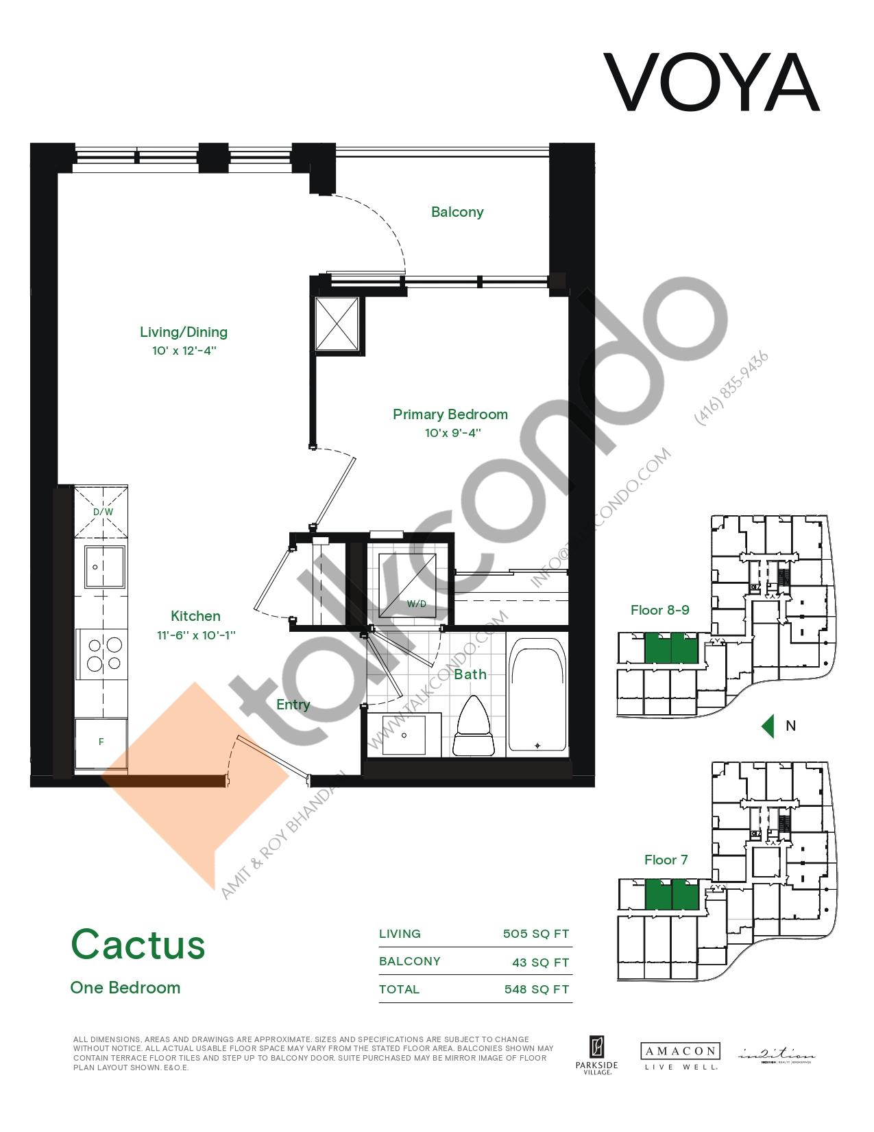 Cactus (Podium) Floor Plan at Voya at Parkside Village Condos - 505 sq.ft