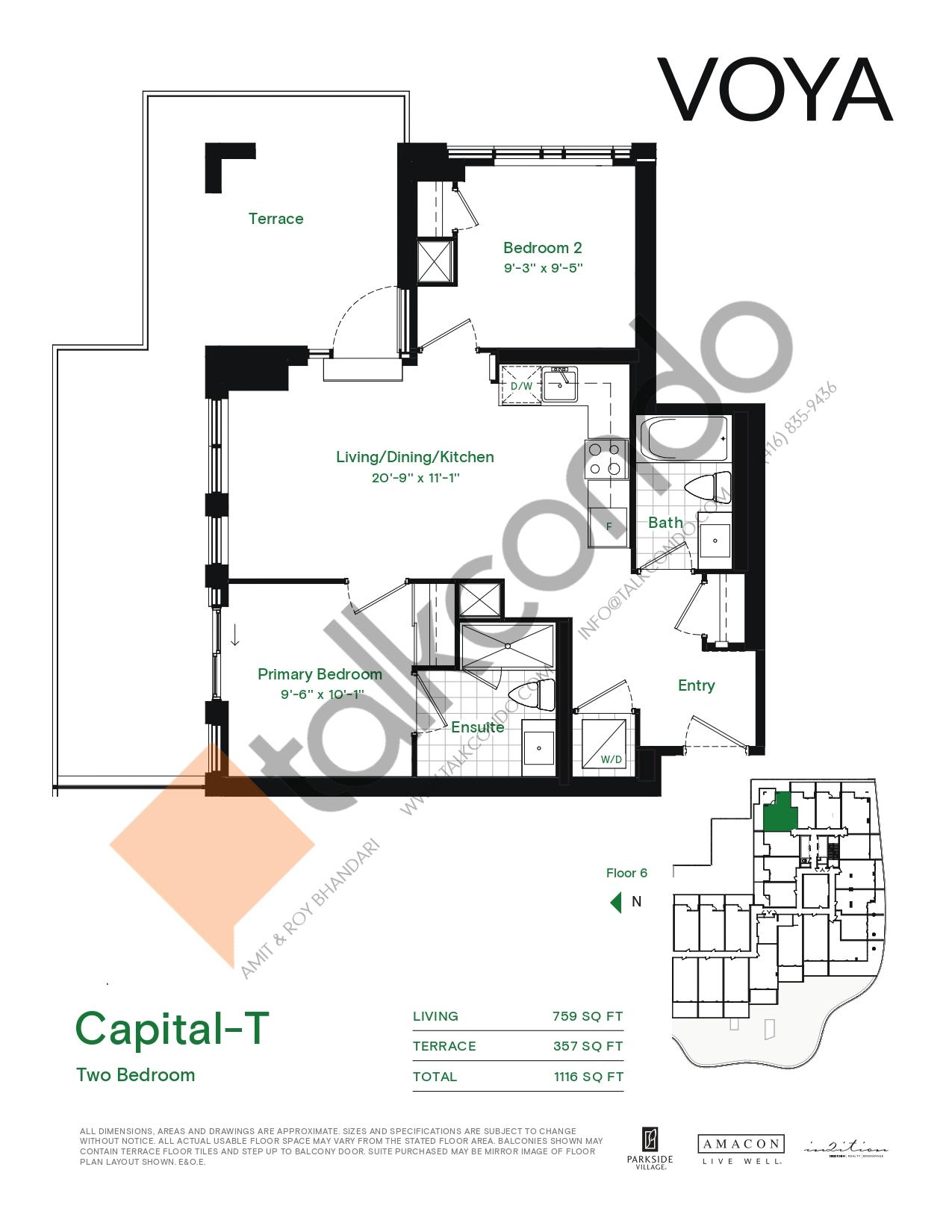 Capital-T (Podium) Floor Plan at Voya at Parkside Village Condos - 759 sq.ft