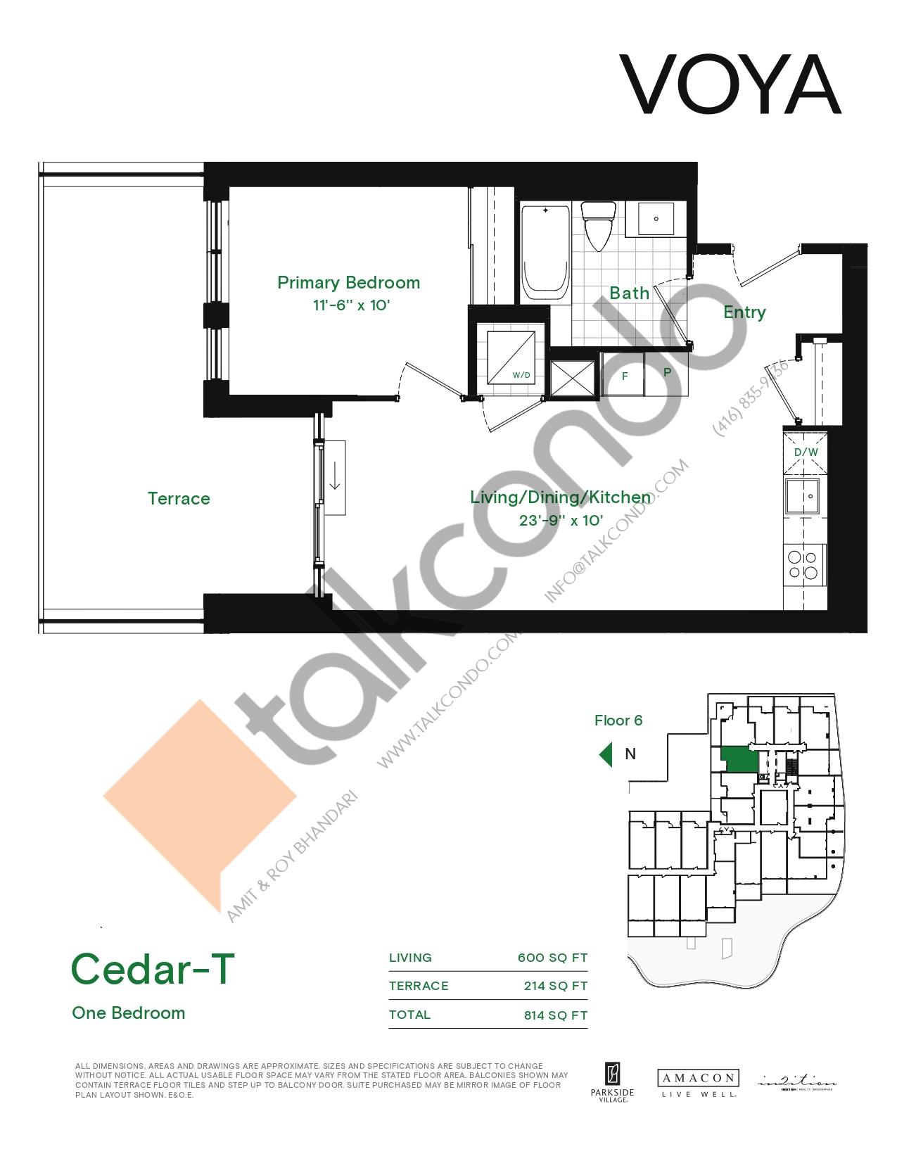 Cedar-T Floor Plan at Voya at Parkside Village Condos - 600 sq.ft