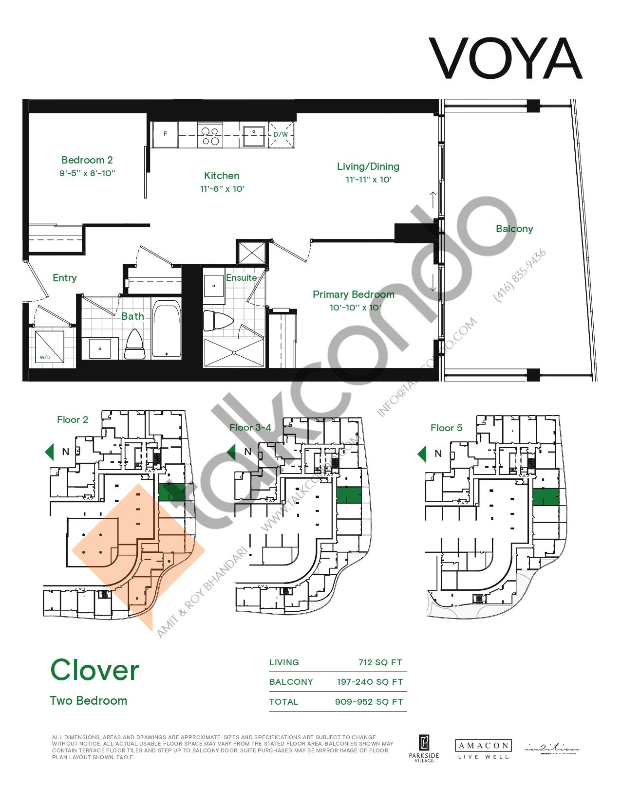 Clover (Podium) Floor Plan at Voya at Parkside Village Condos - 712 sq.ft