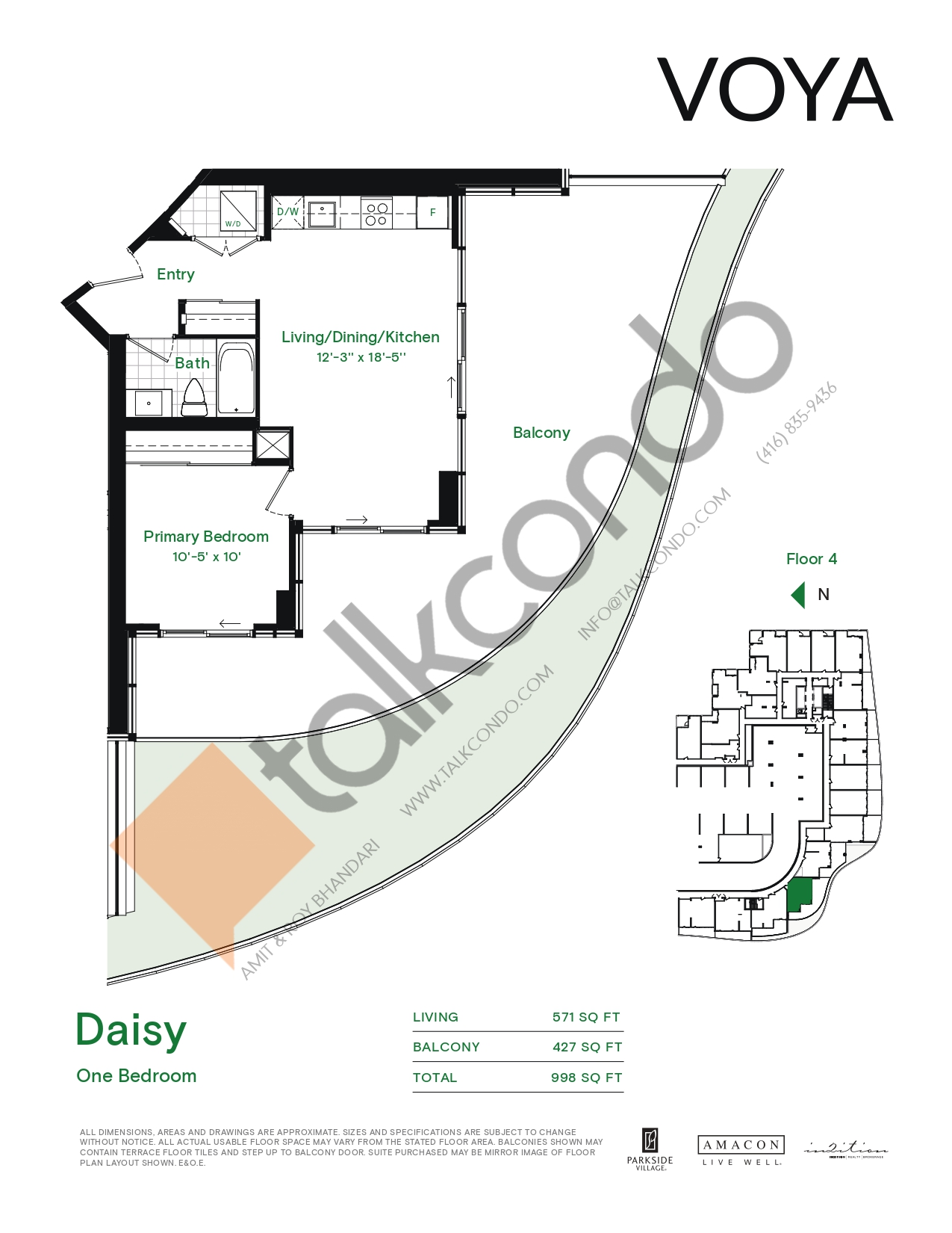 Daisy (Podium) Floor Plan at Voya at Parkside Village Condos - 571 sq.ft