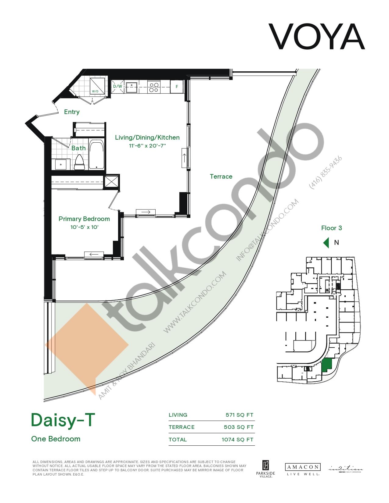 Daisy-T (Podium) Floor Plan at Voya at Parkside Village Condos - 571 sq.ft