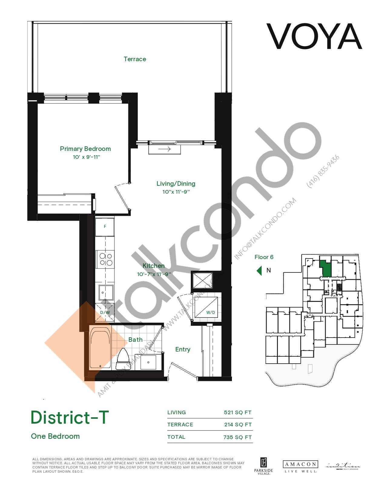 District-T (Podium) Floor Plan at Voya at Parkside Village Condos - 521 sq.ft