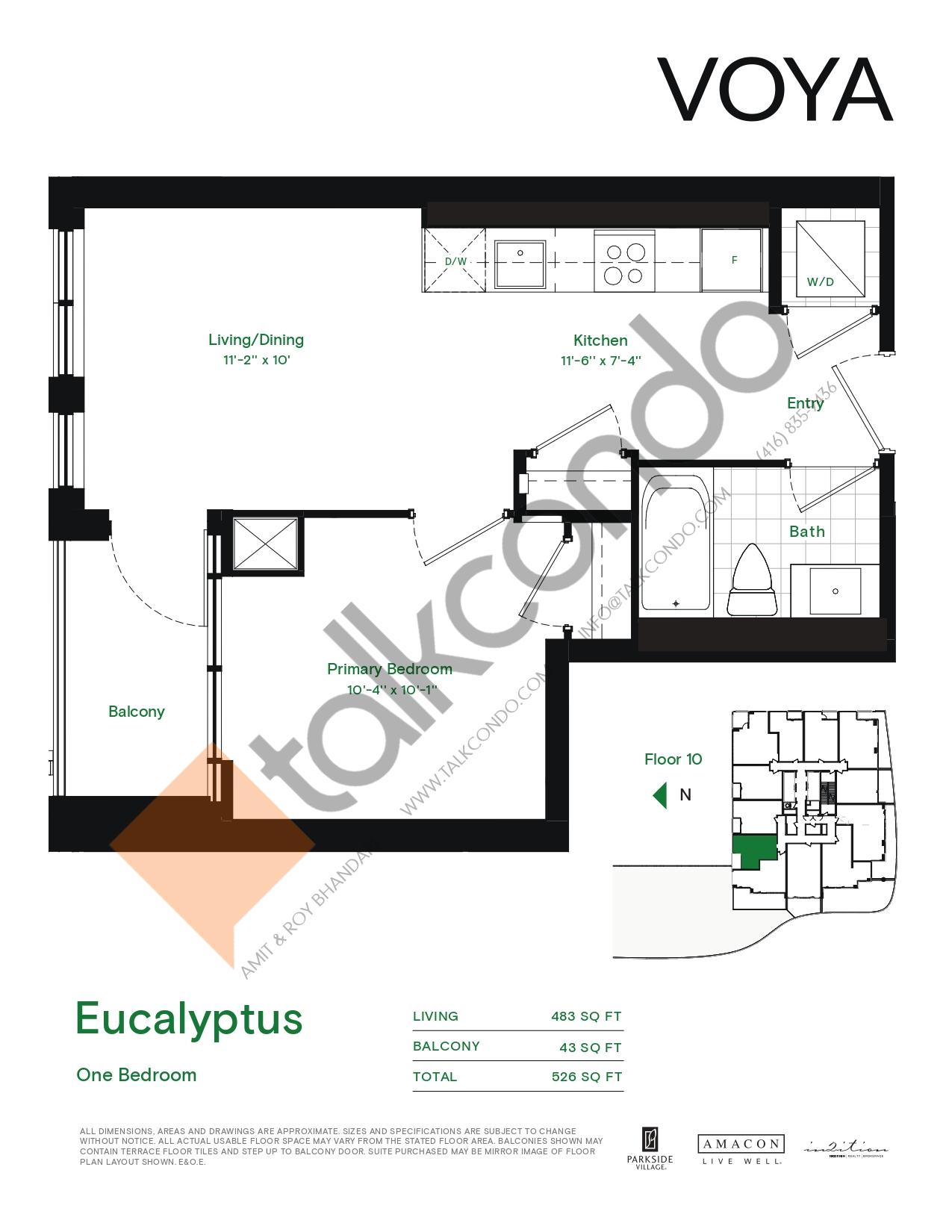 Eucalyptus (Podium) Floor Plan at Voya at Parkside Village Condos - 483 sq.ft
