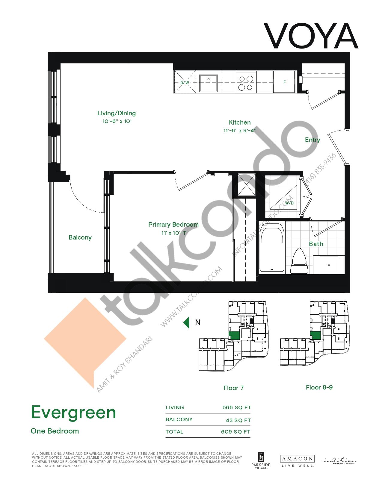 Evergreen (Podium) Floor Plan at Voya at Parkside Village Condos - 566 sq.ft