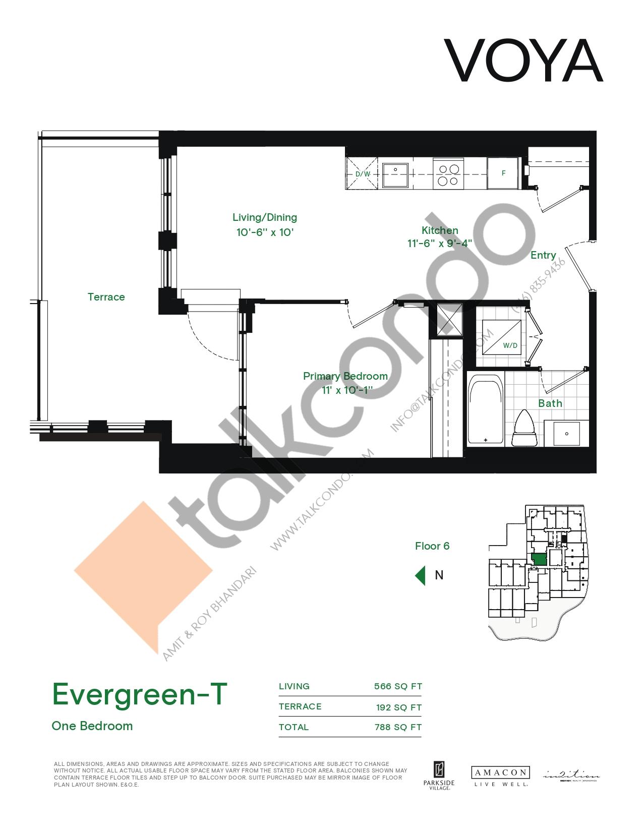 Evergreen-T (Podium) Floor Plan at Voya at Parkside Village Condos - 566 sq.ft