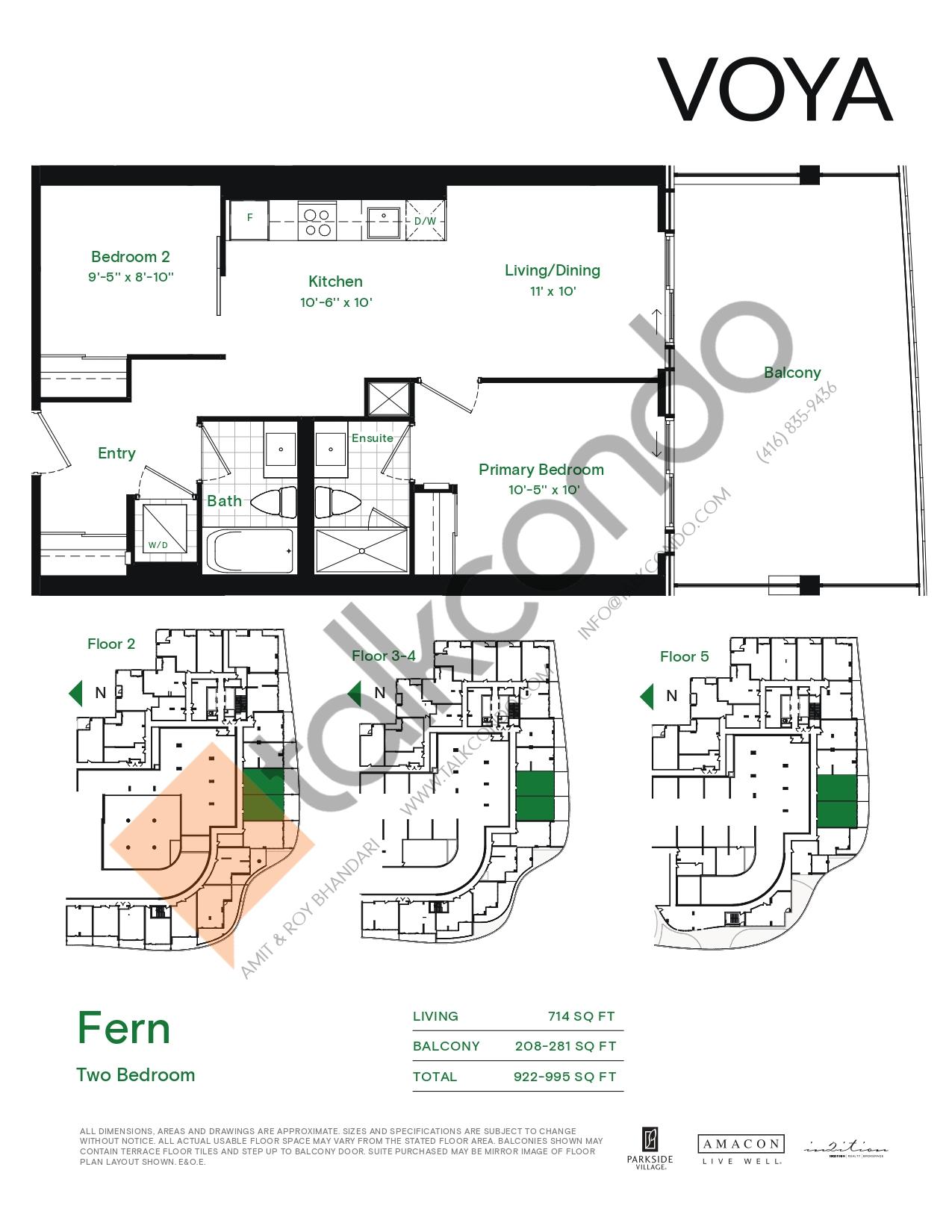 Fern (Podium) Floor Plan at Voya at Parkside Village Condos - 714 sq.ft