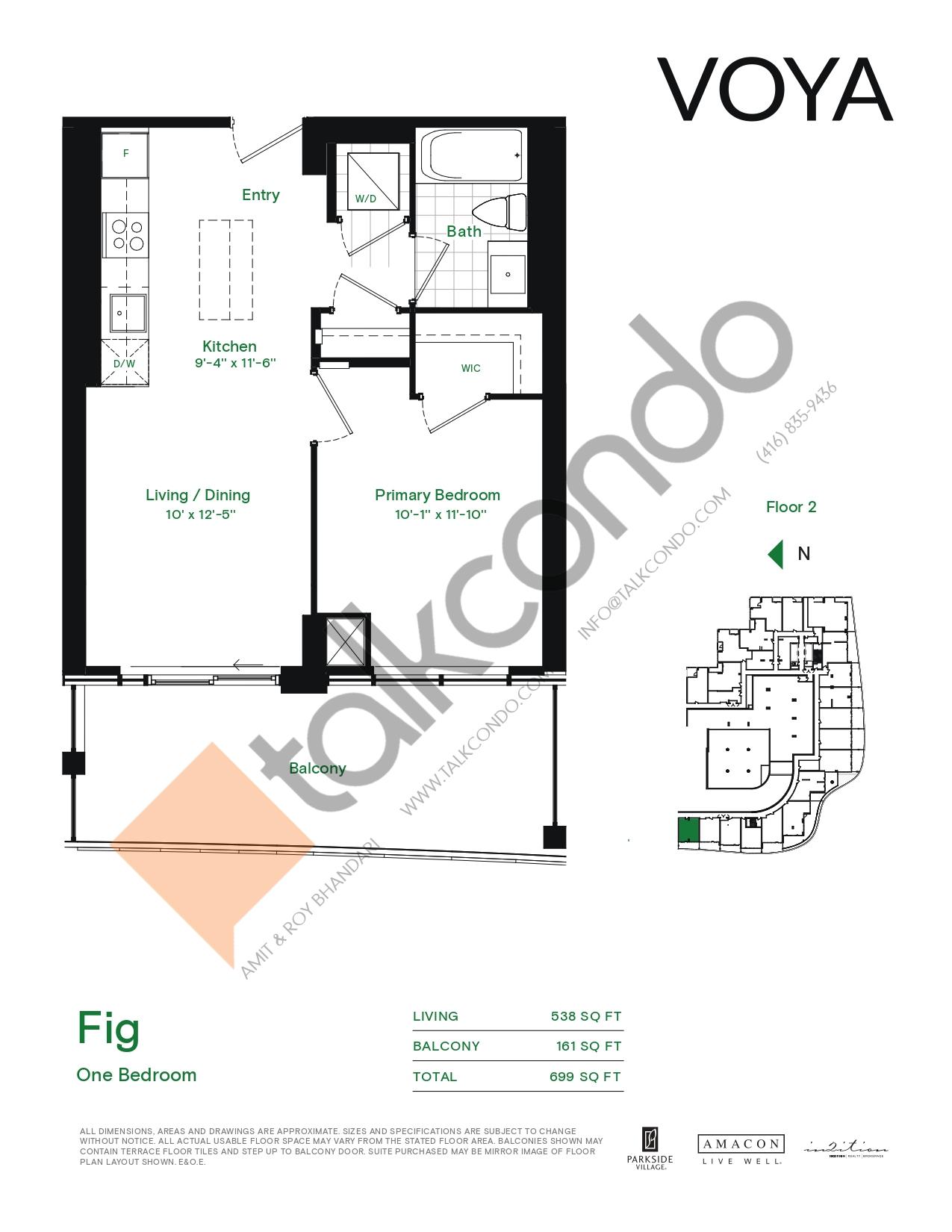 Fig (Podium) Floor Plan at Voya at Parkside Village Condos - 538 sq.ft